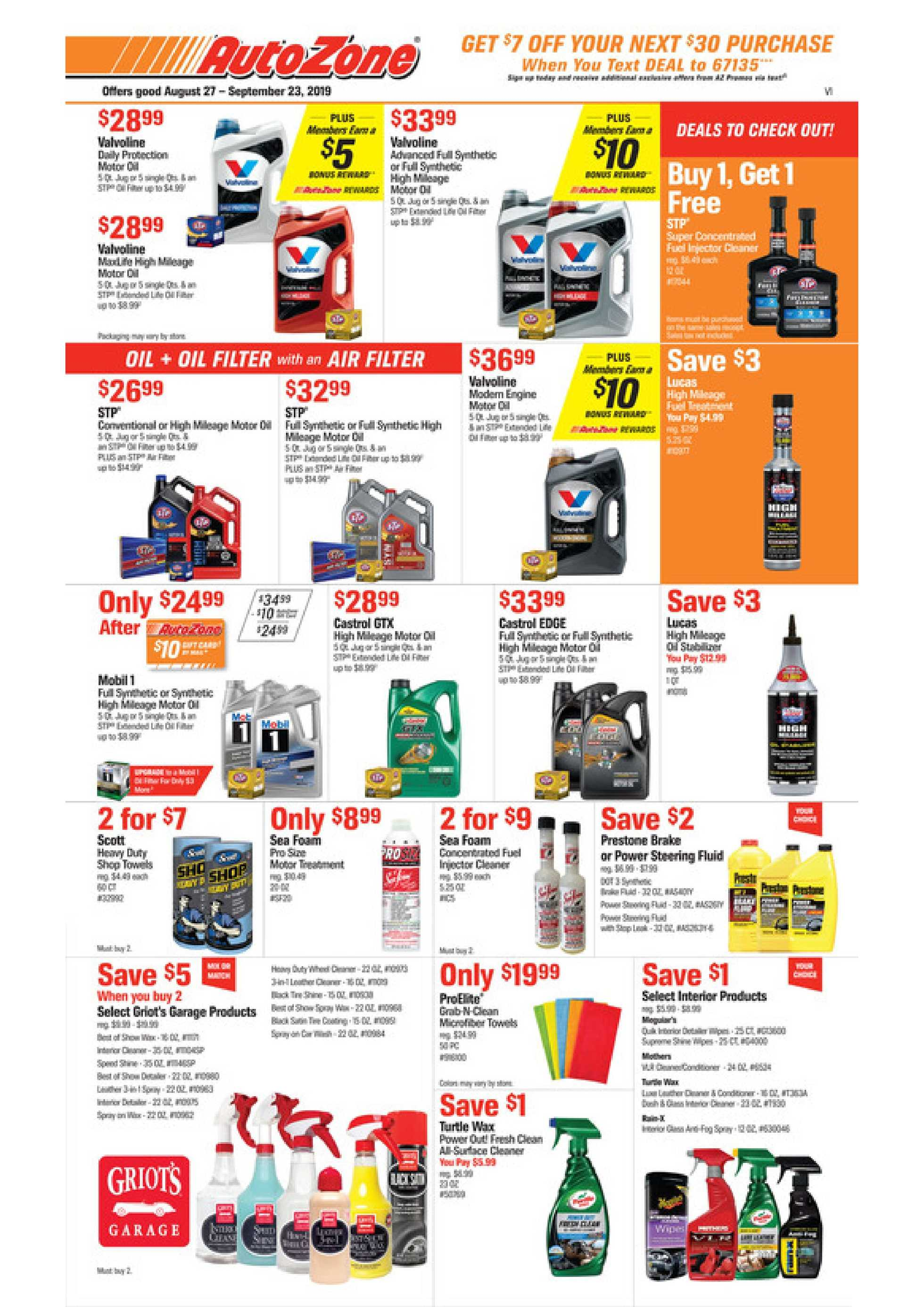 AutoZone - deals are valid from 08/27/19 to 09/23/19 - page 1.