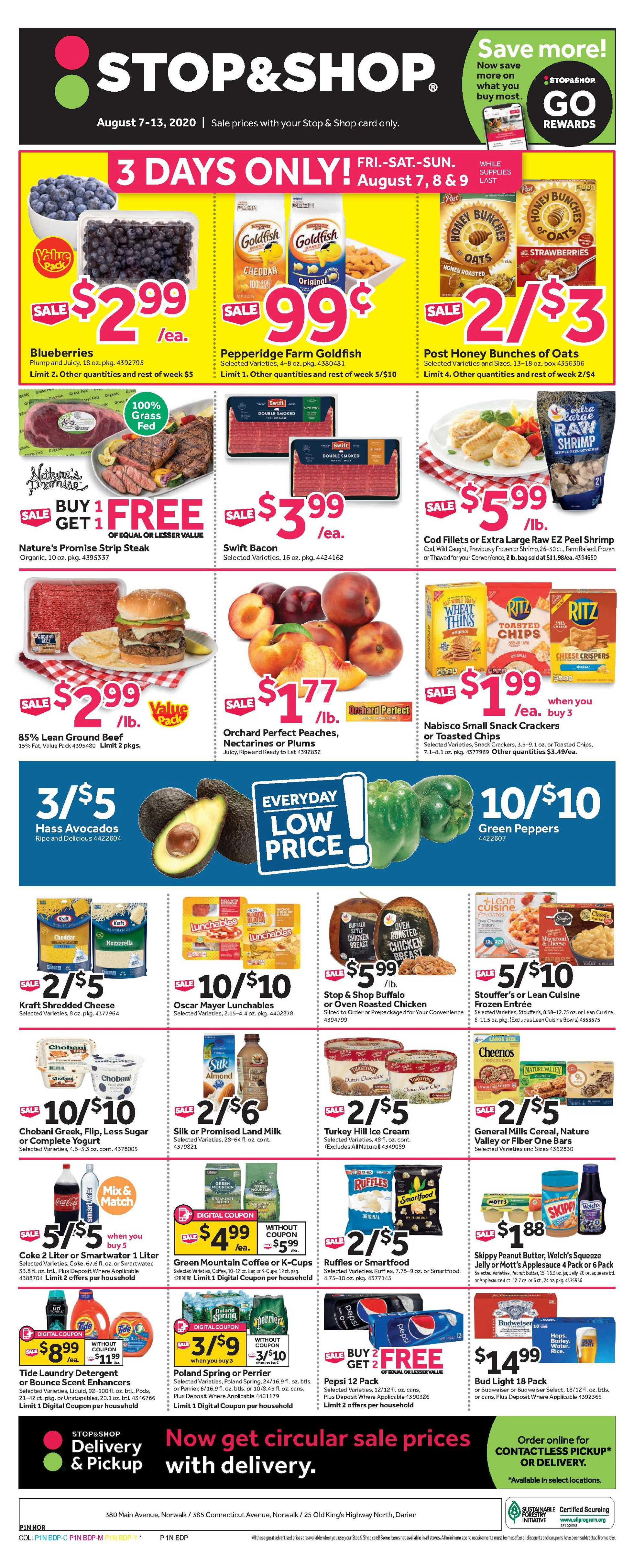Stop & Shop - deals are valid from 08/07/20 to 08/13/20 - page 1.