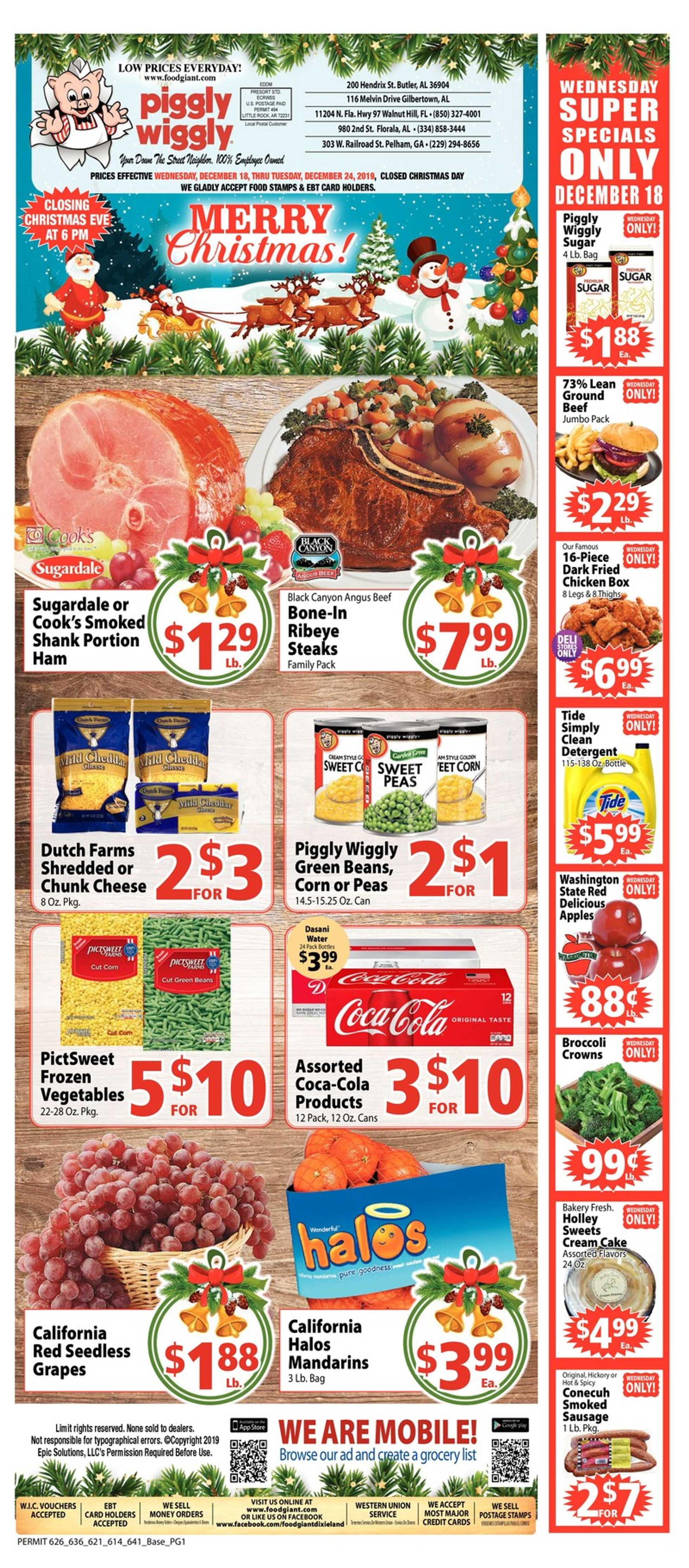 Piggly Wiggly - deals are valid from 12/18/19 to 12/24/19 - page 1.