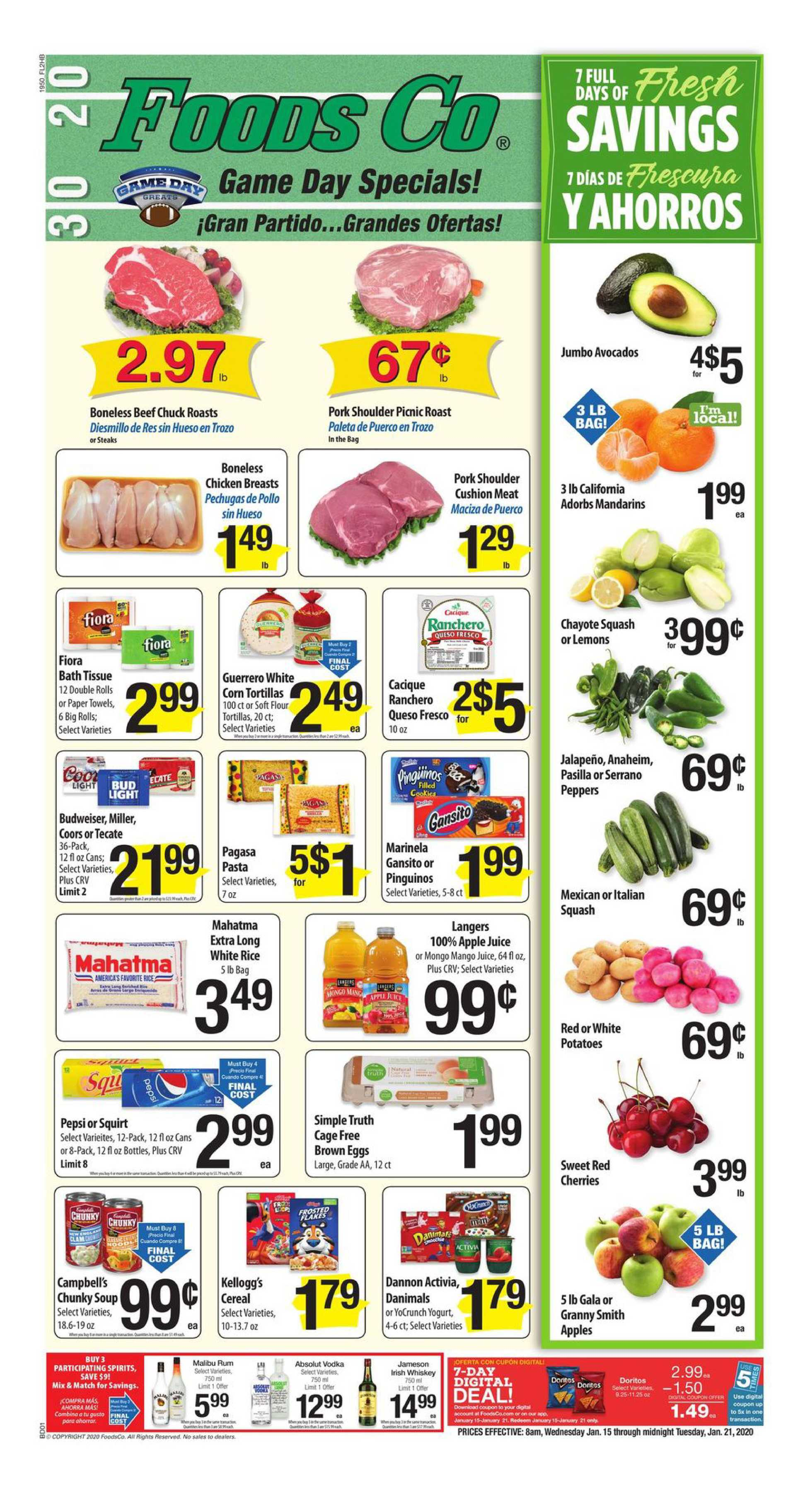 Foods Co. - promo starting from 01/15/20 to 01/21/20 - page 1. The promotion includes steaks, vodka, pechugas, pechugas, vodka, steaks