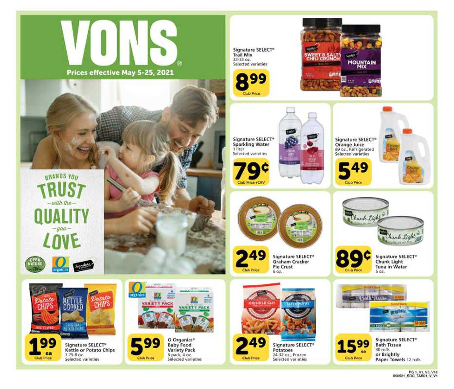 Vons - deals are valid from 05/05/21 to 05/25/21 - page 1.