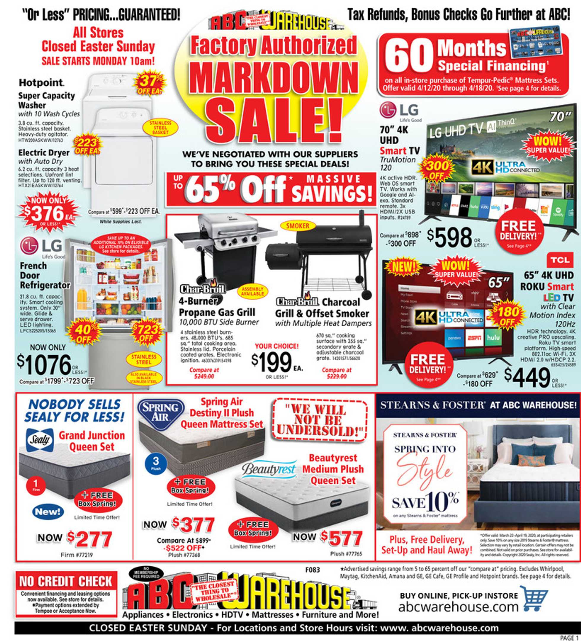 ABC Warehouse - deals are valid from 04/12/20 to 04/18/20 - page 1.