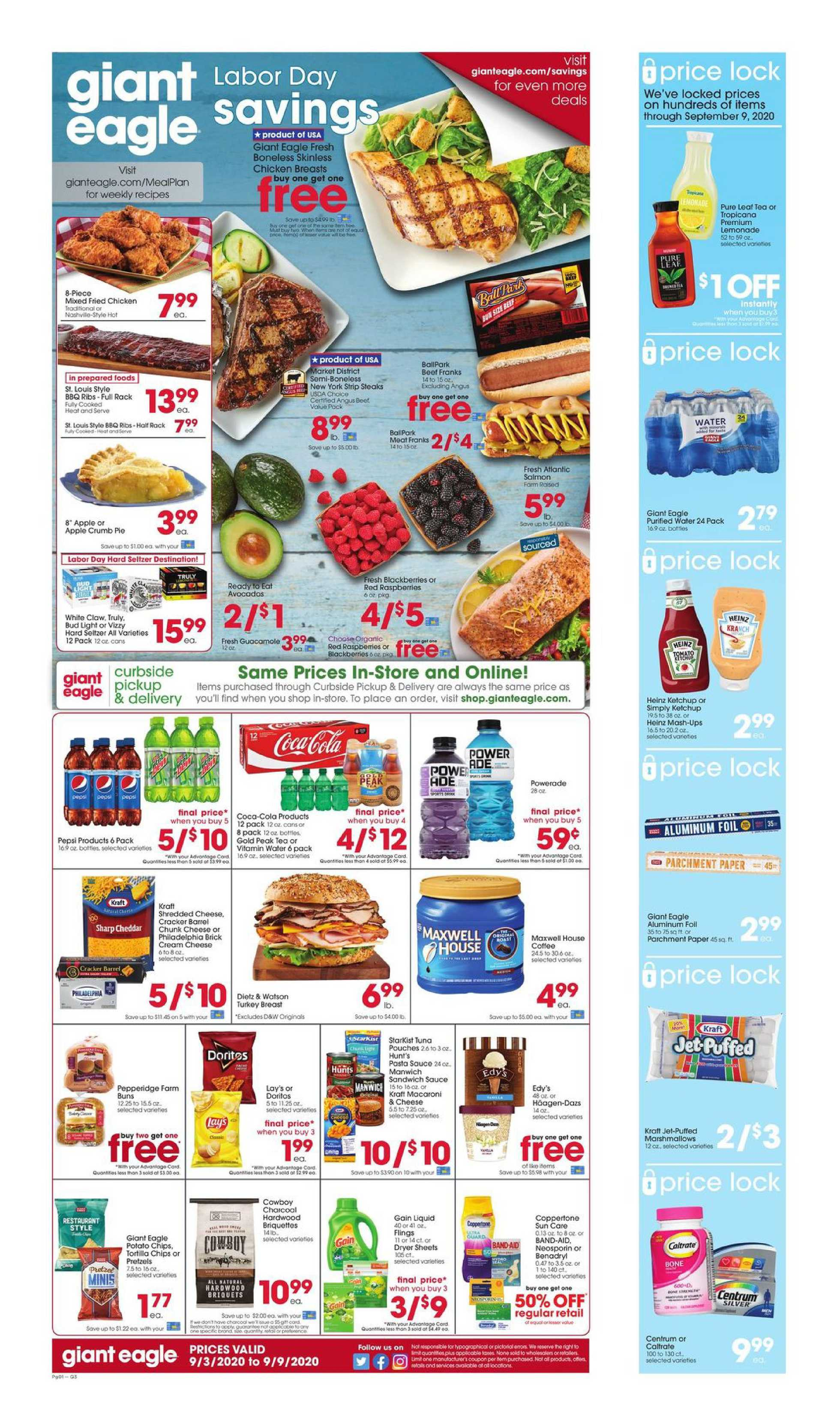 Giant Eagle - deals are valid from 09/03/20 to 09/09/20 - page 1.