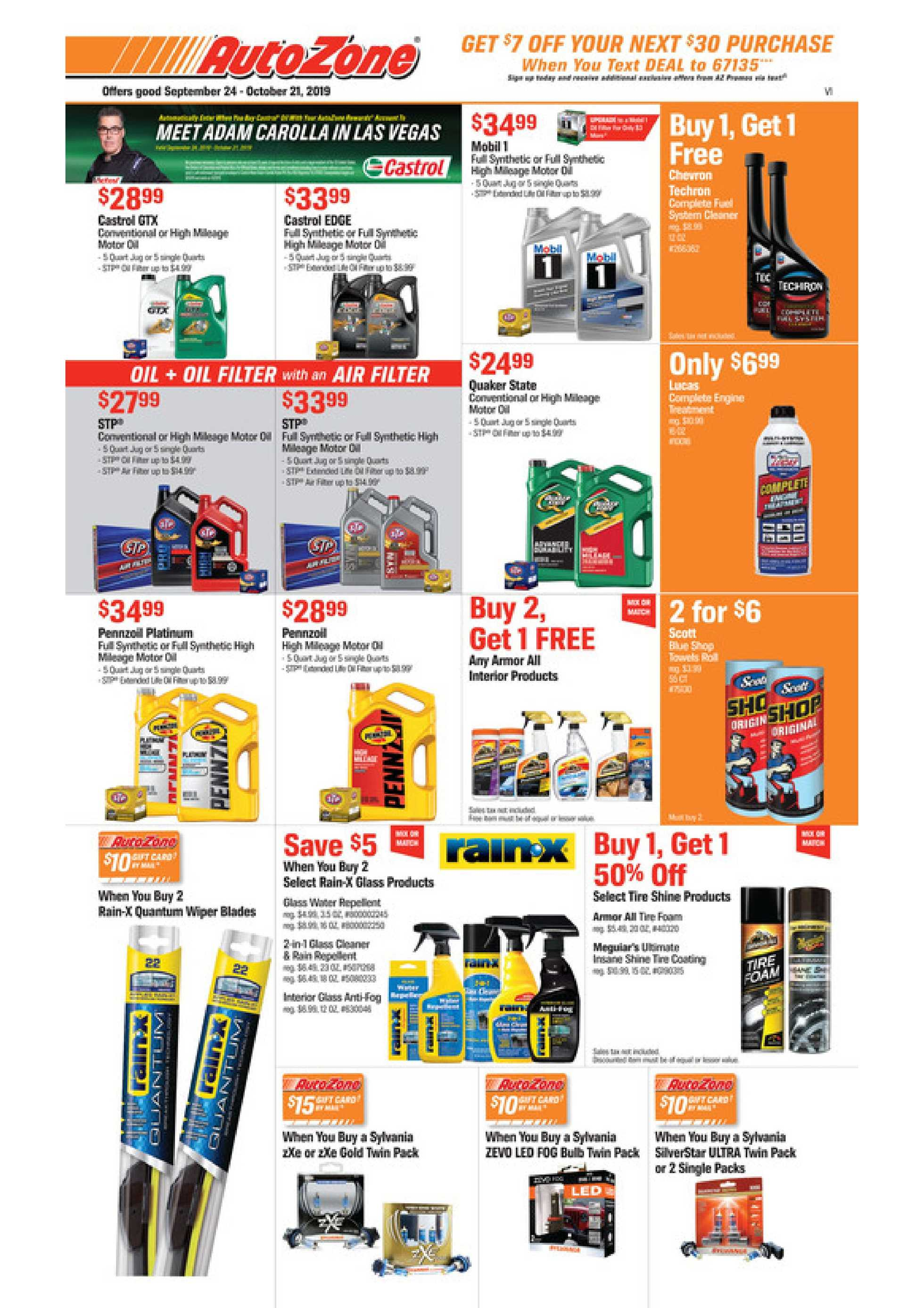 AutoZone - deals are valid from 09/24/19 to 10/21/19 - page 1.