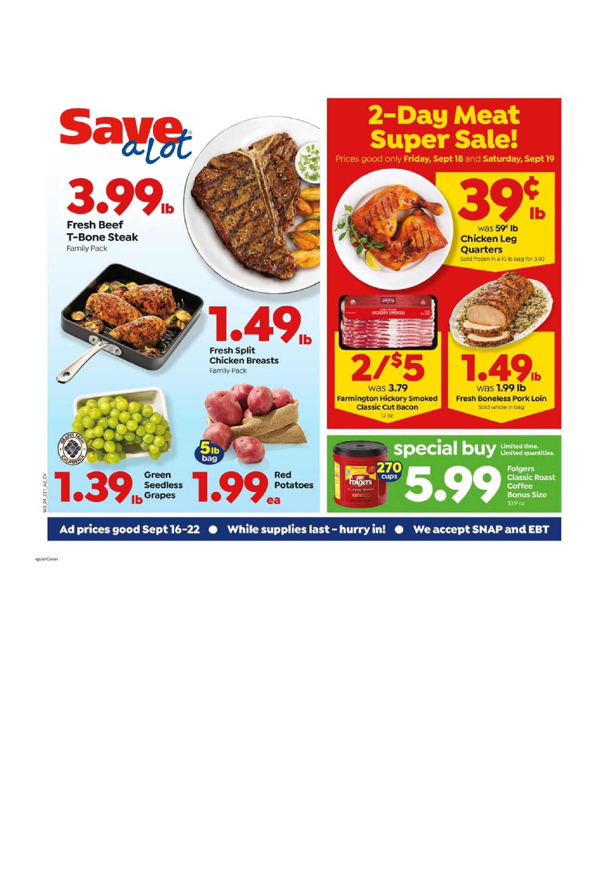 Save-A-Lot - deals are valid from 09/16/20 to 09/22/20 - page 1.