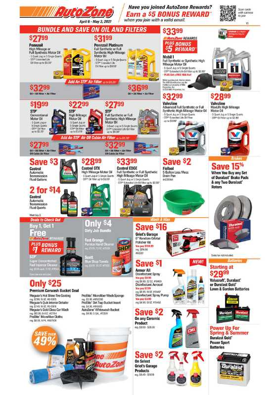 AutoZone - deals are valid from 04/06/21 to 05/03/21 - page 1.