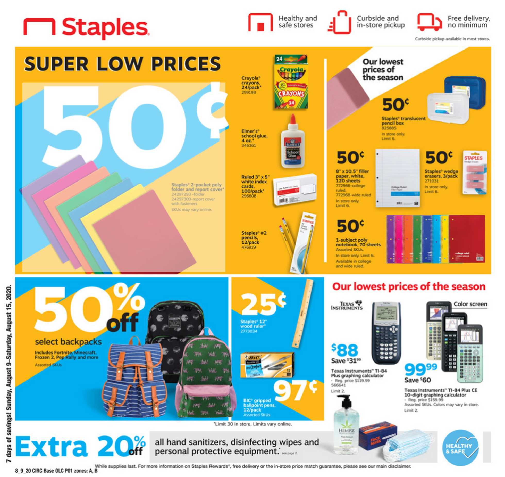 Staples - deals are valid from 08/09/20 to 08/15/20 - page 1.