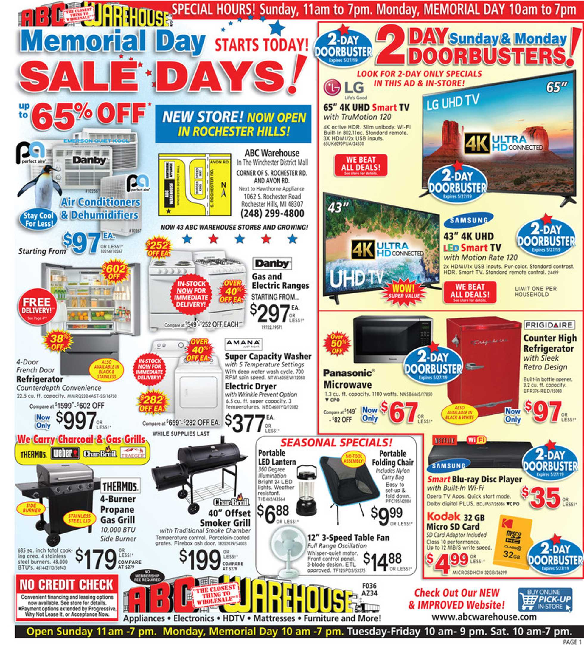 ABC Warehouse - deals are valid from 05/26/19 to 06/01/19 - page 1.
