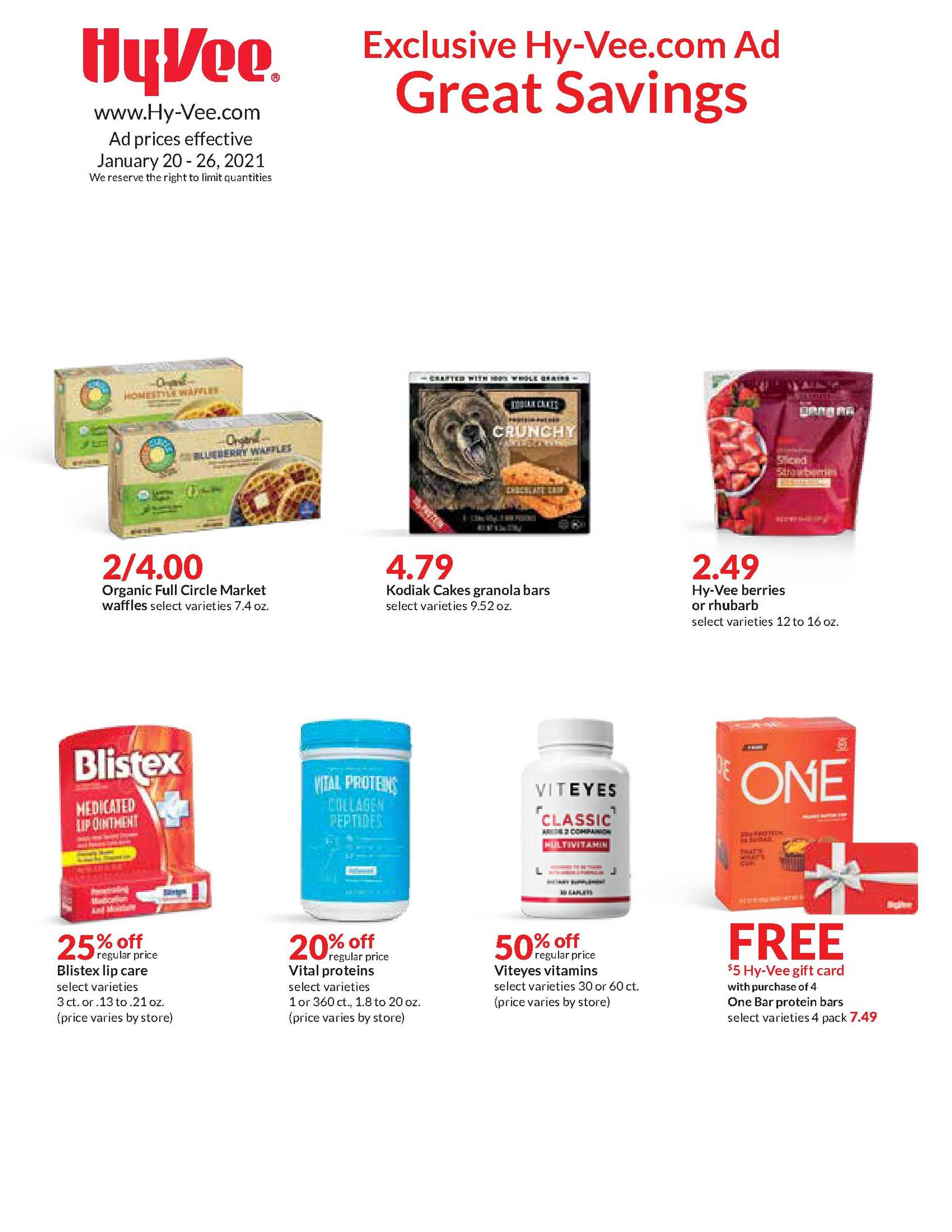 Hy-Vee - deals are valid from 01/20/21 to 01/26/21 - page 1.