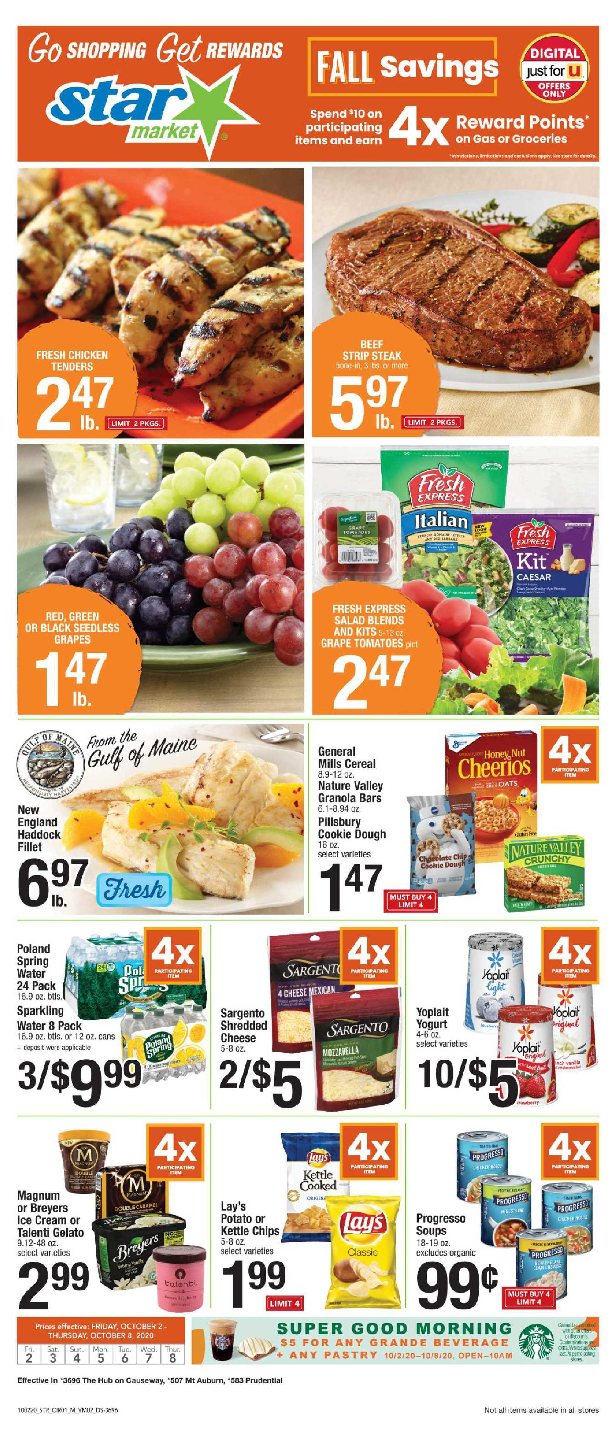 Star Market - deals are valid from 10/02/20 to 10/08/20 - page 1.