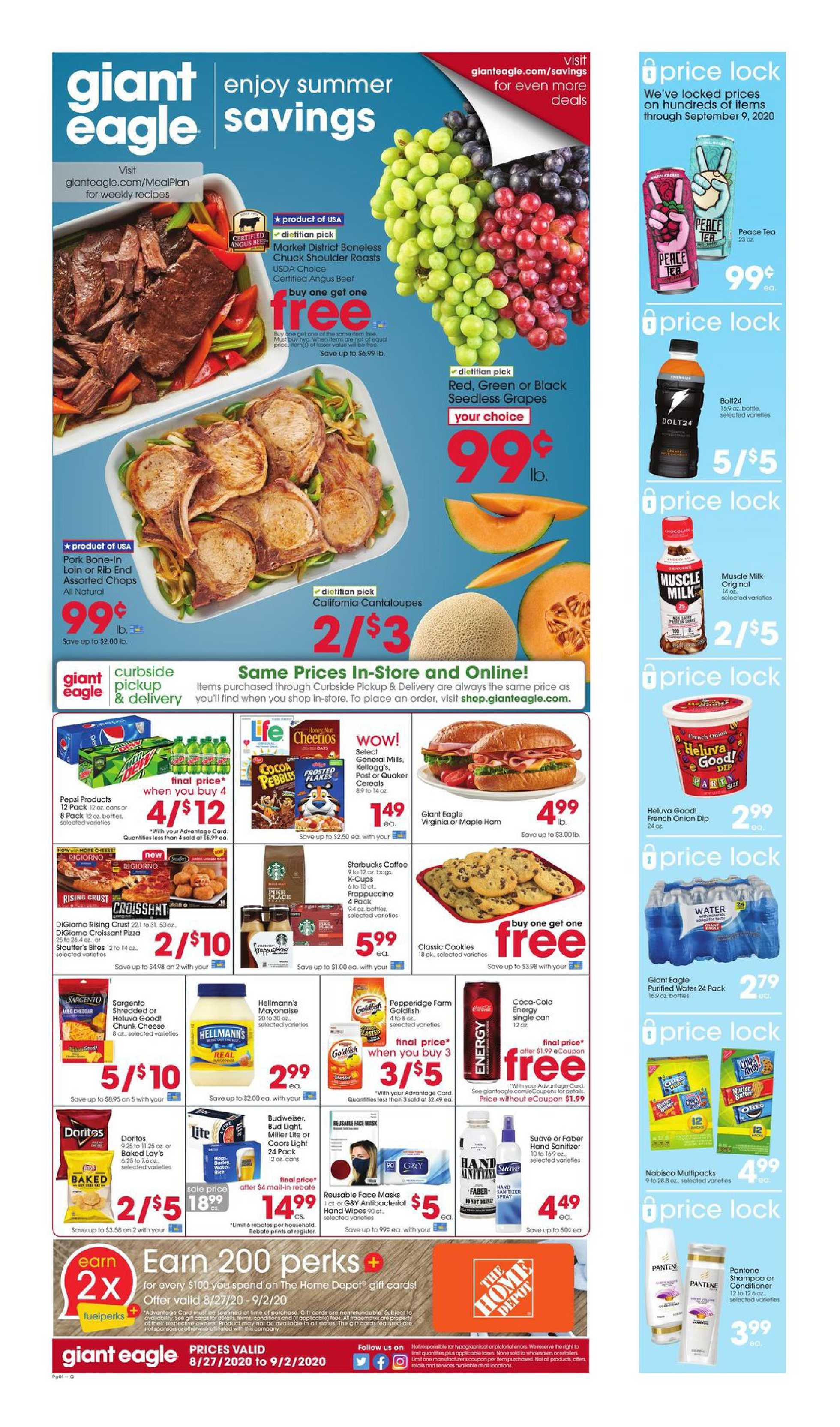 Giant Eagle - deals are valid from 08/27/20 to 09/02/20 - page 1.