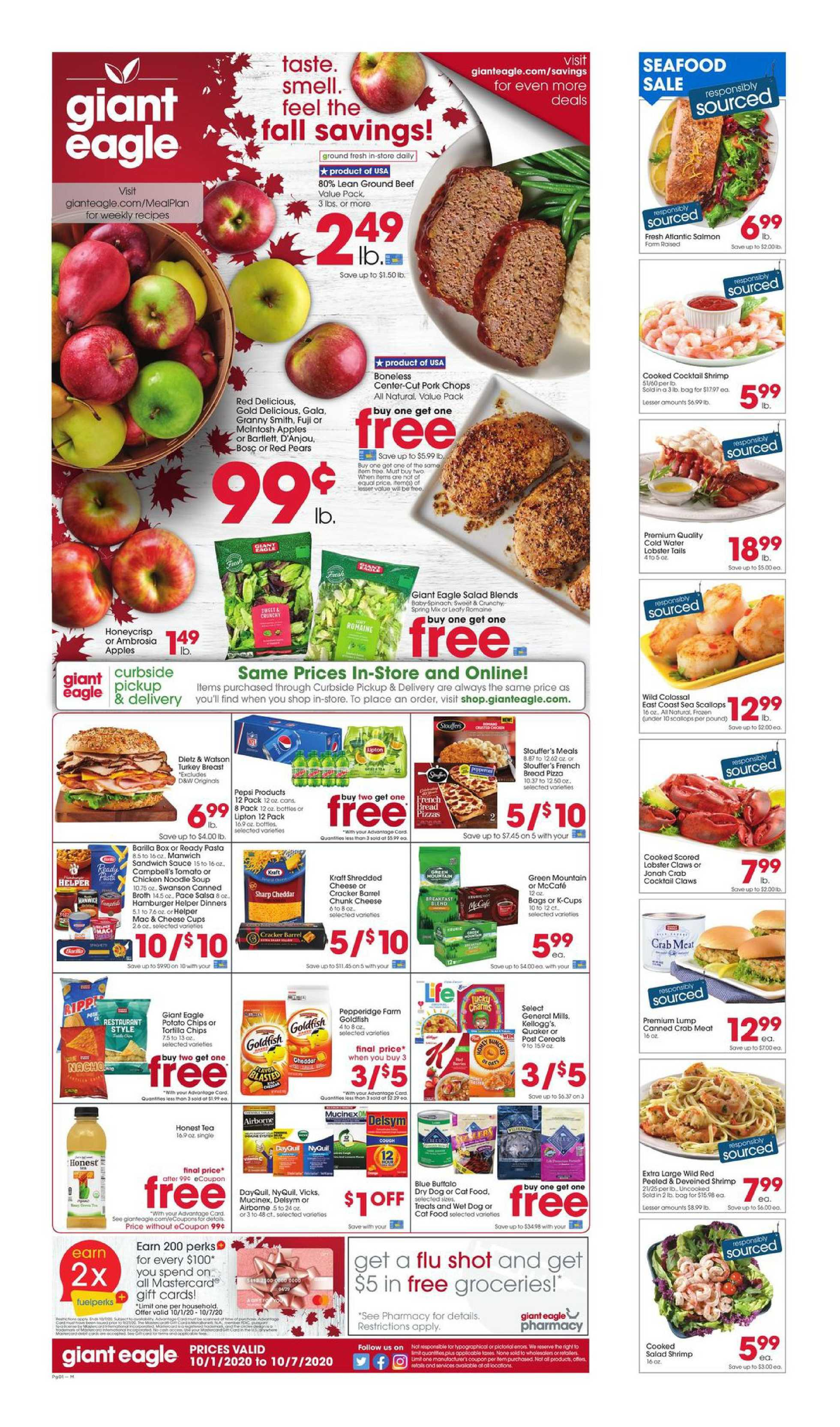 Giant Eagle - deals are valid from 10/01/20 to 10/07/20 - page 1.