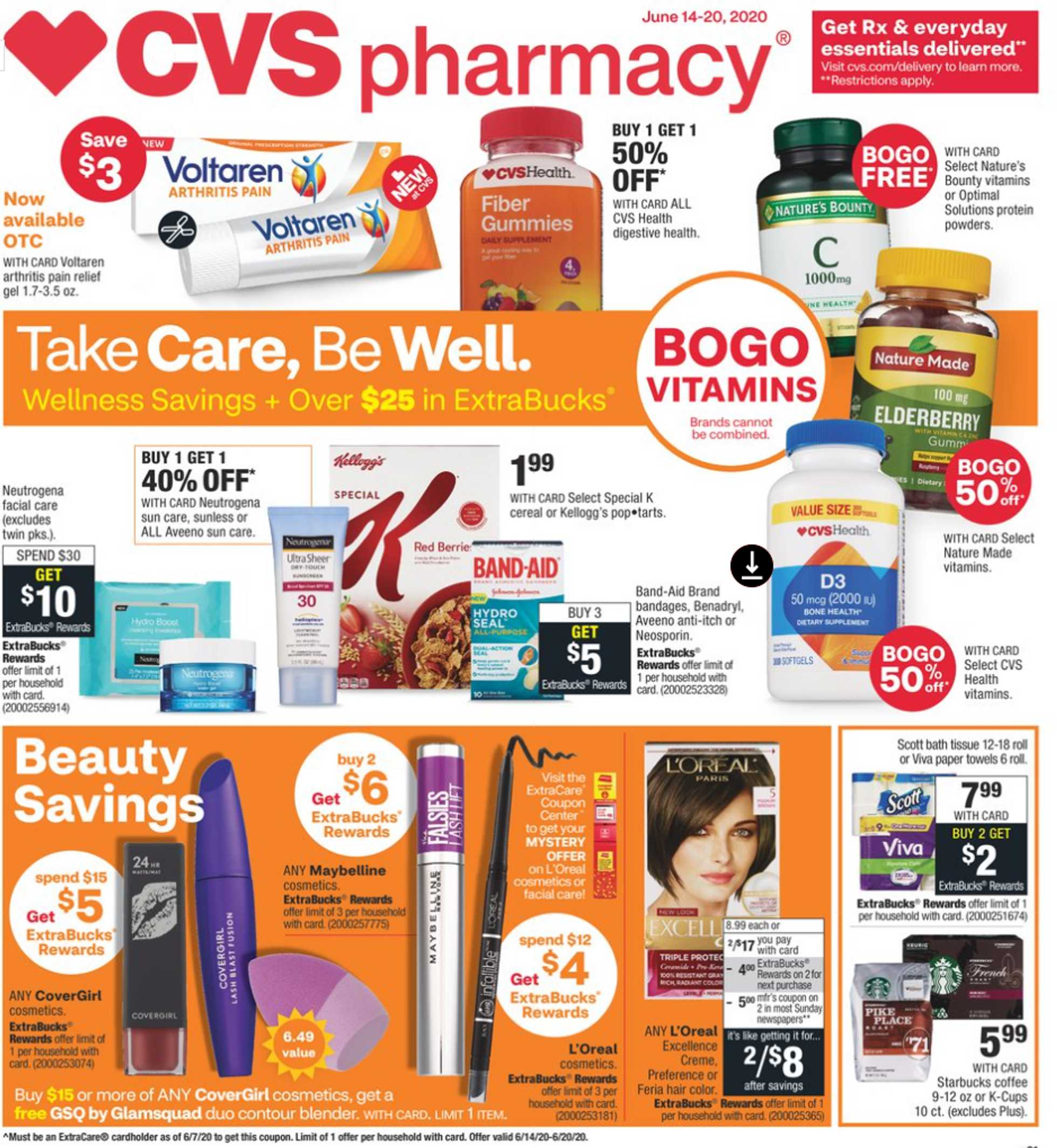 CVS - deals are valid from 06/14/20 to 06/20/20 - page 1.