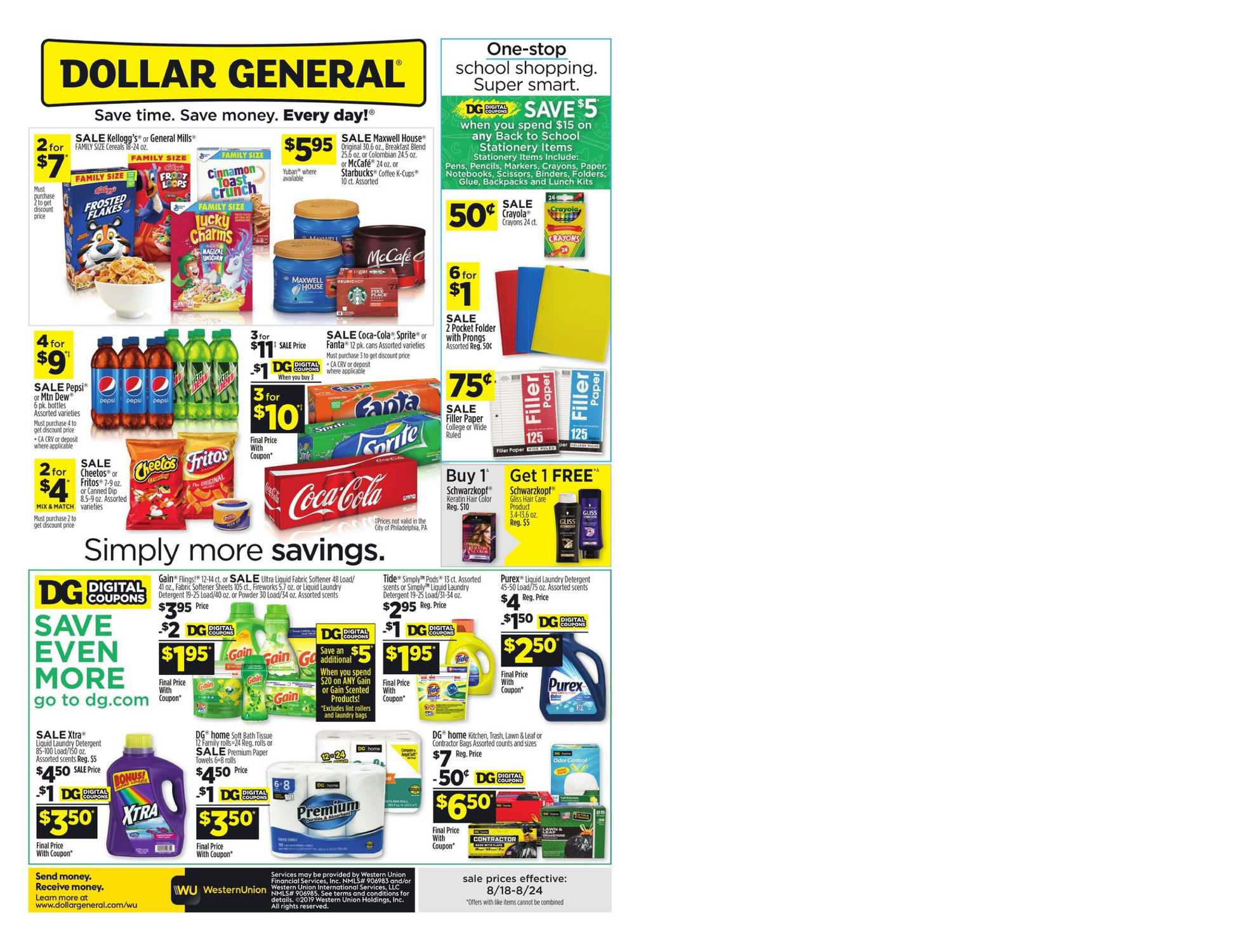 Dollar General - deals are valid from 08/18/19 to 08/24/19 - page 1.