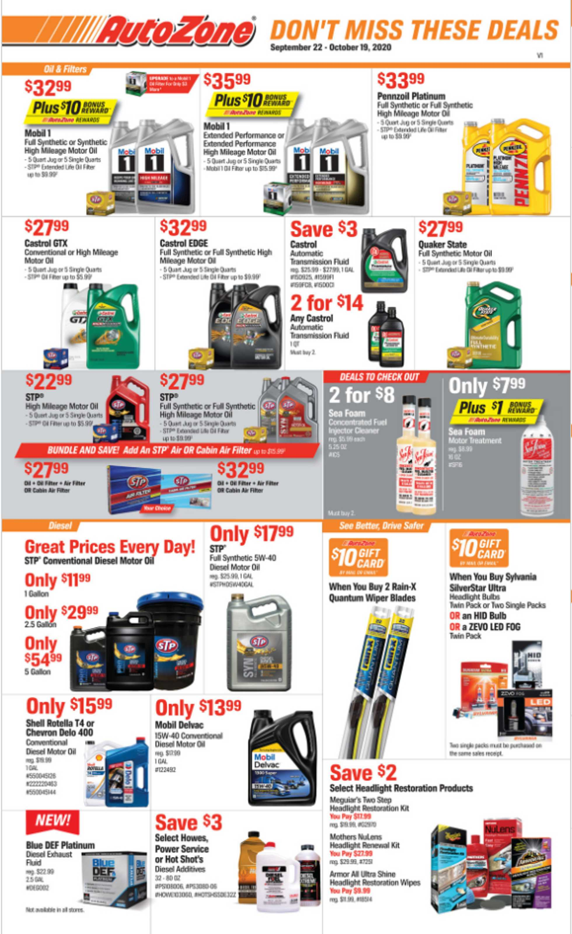 AutoZone - deals are valid from 09/22/20 to 10/19/20 - page 1.