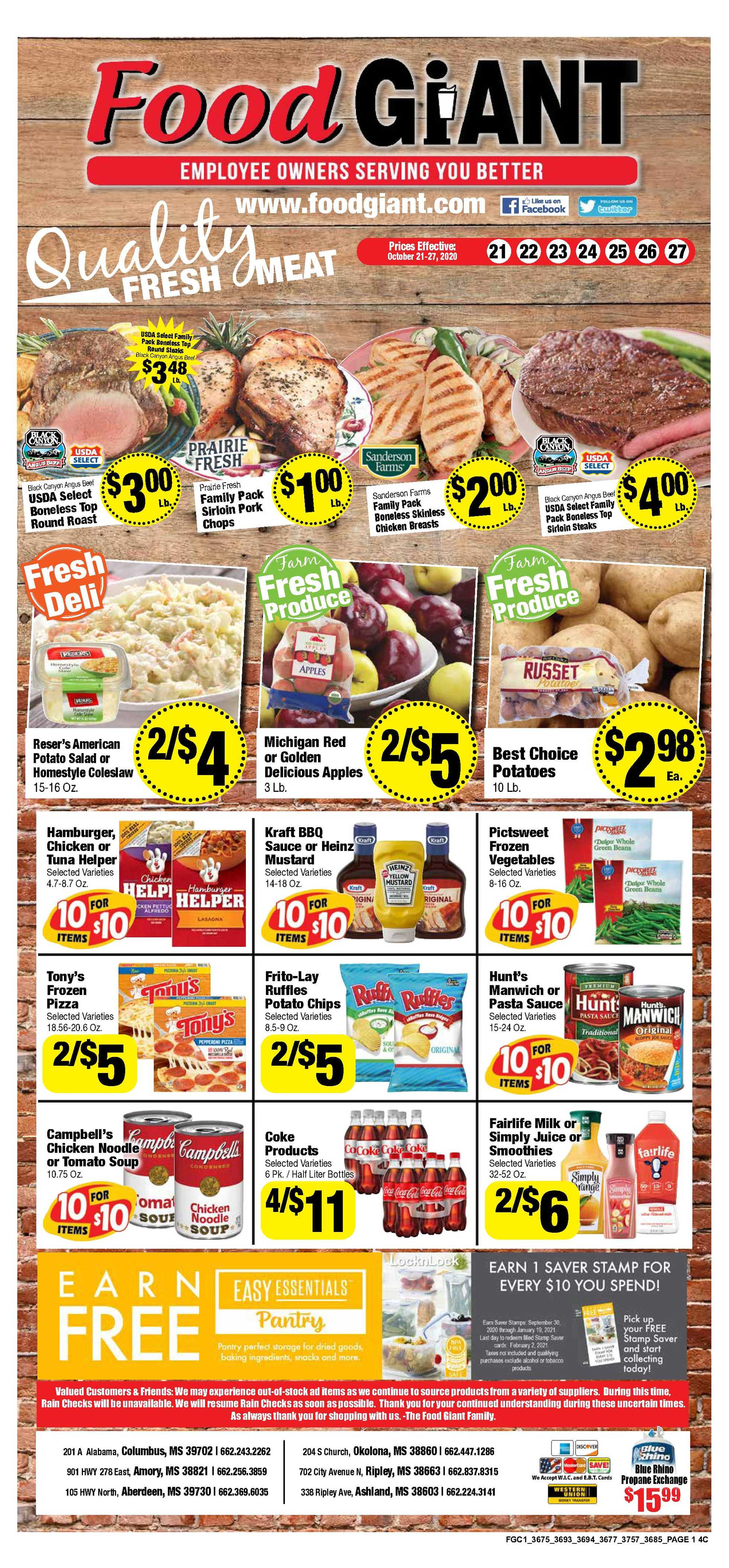 Food Giant - deals are valid from 10/21/20 to 10/27/20 - page 1.