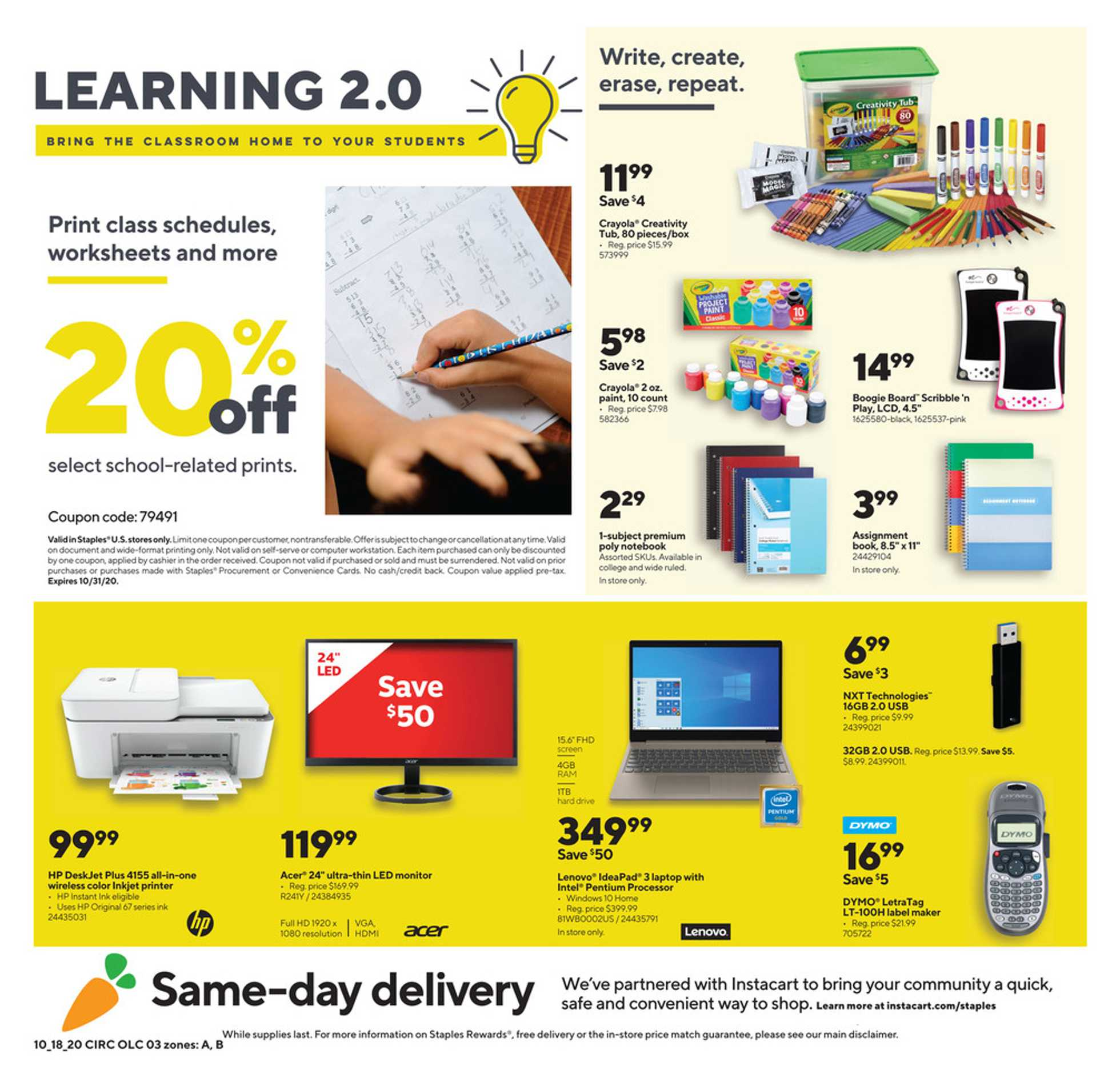 Staples - deals are valid from 10/18/20 to 10/24/20 - page 3.