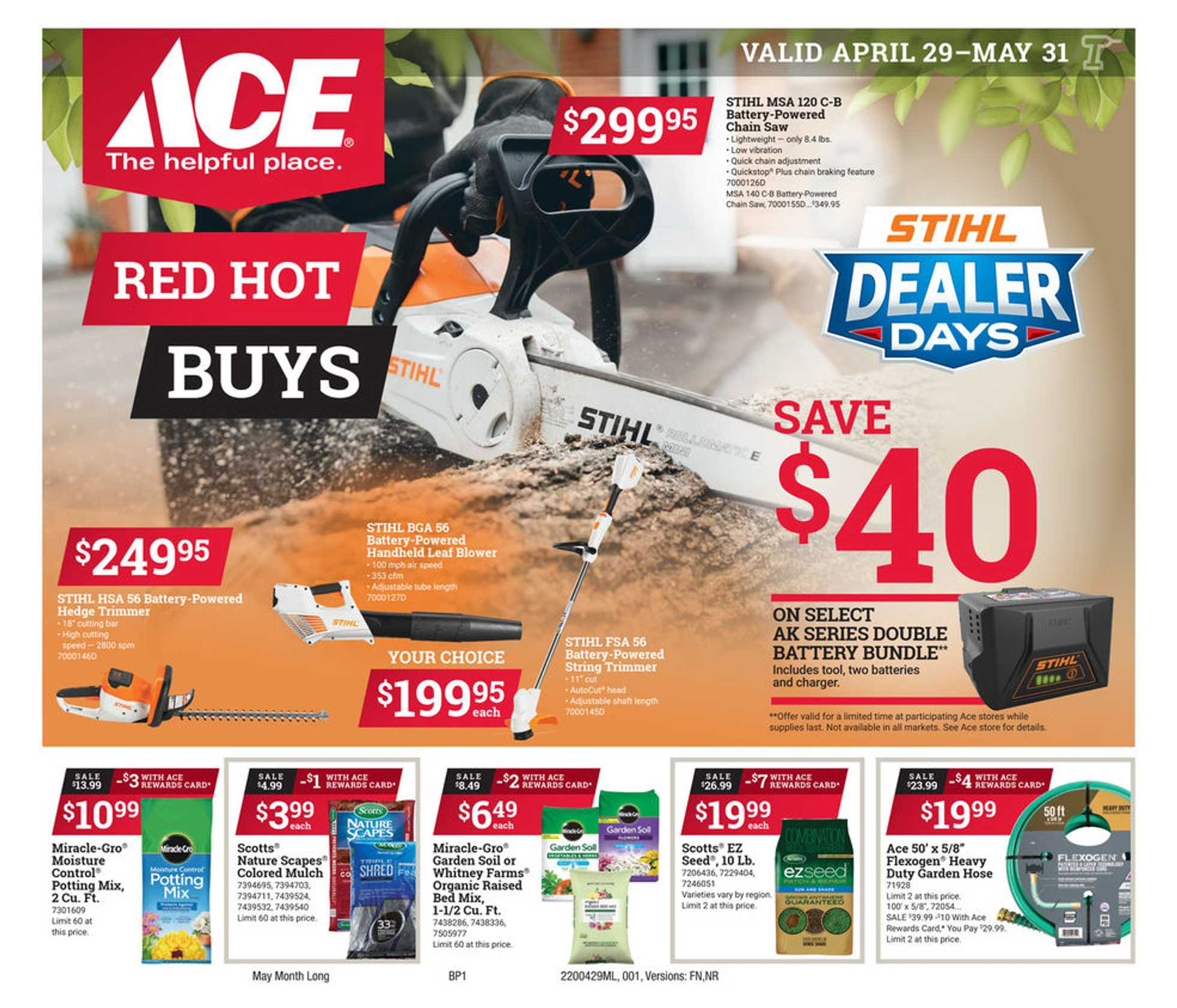 ACE Hardware - deals are valid from 04/29/20 to 05/31/20 - page 1.