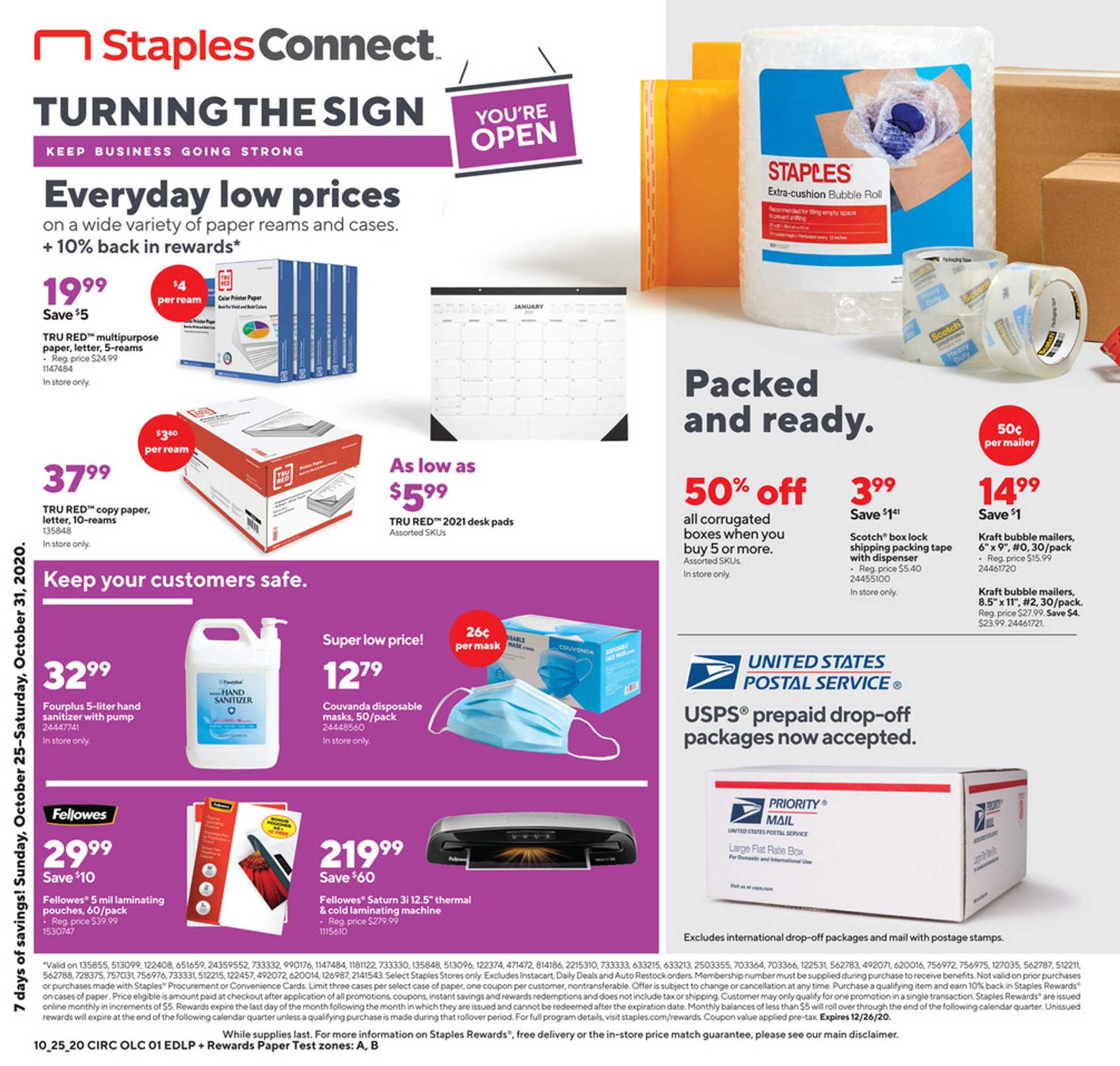 Staples - deals are valid from 10/25/20 to 10/31/20 - page 1.