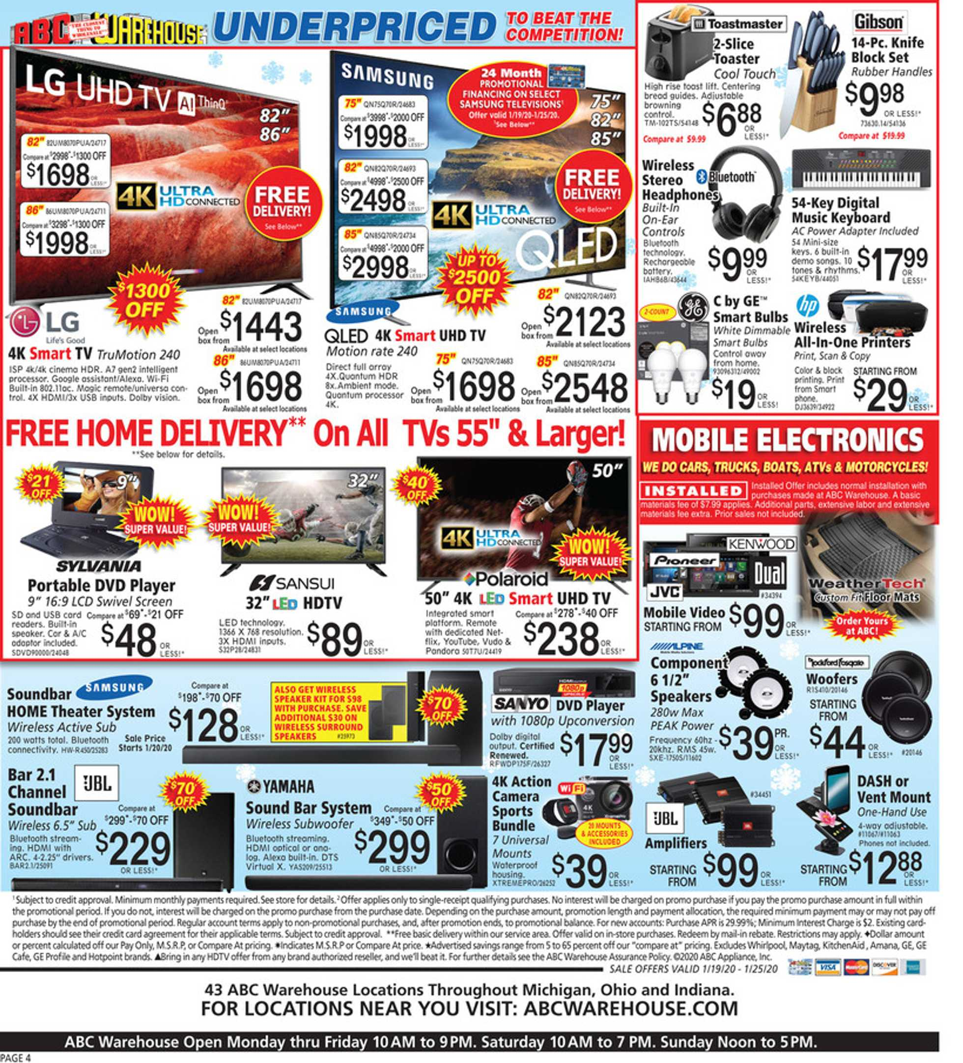 ABC Warehouse - deals are valid from 01/19/20 to 01/25/20 - page 4.