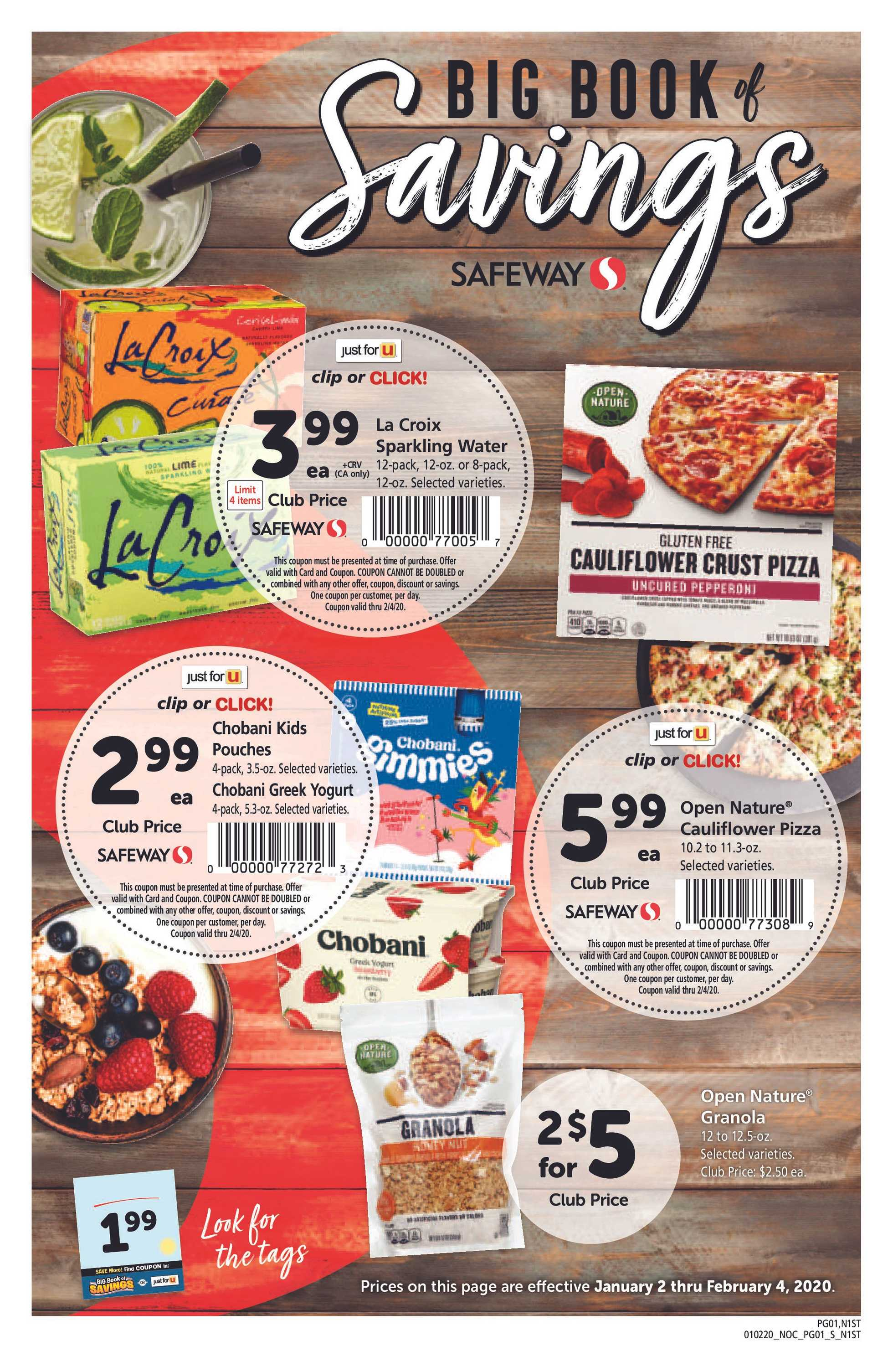 Safeway - deals are valid from 01/02/20 to 02/04/20 - page 1.