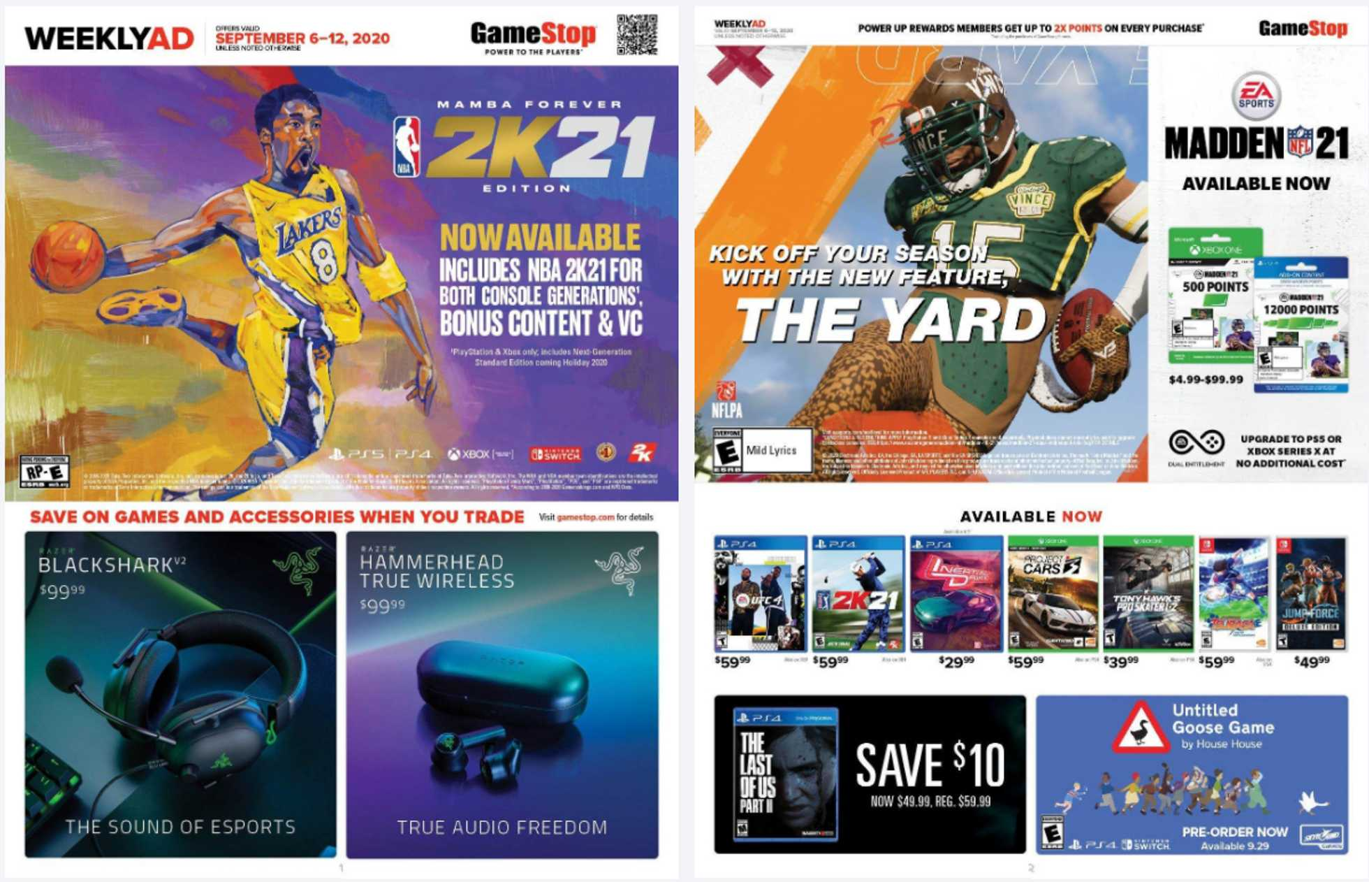 GameStop - deals are valid from 09/06/20 to 09/12/20 - page 1.