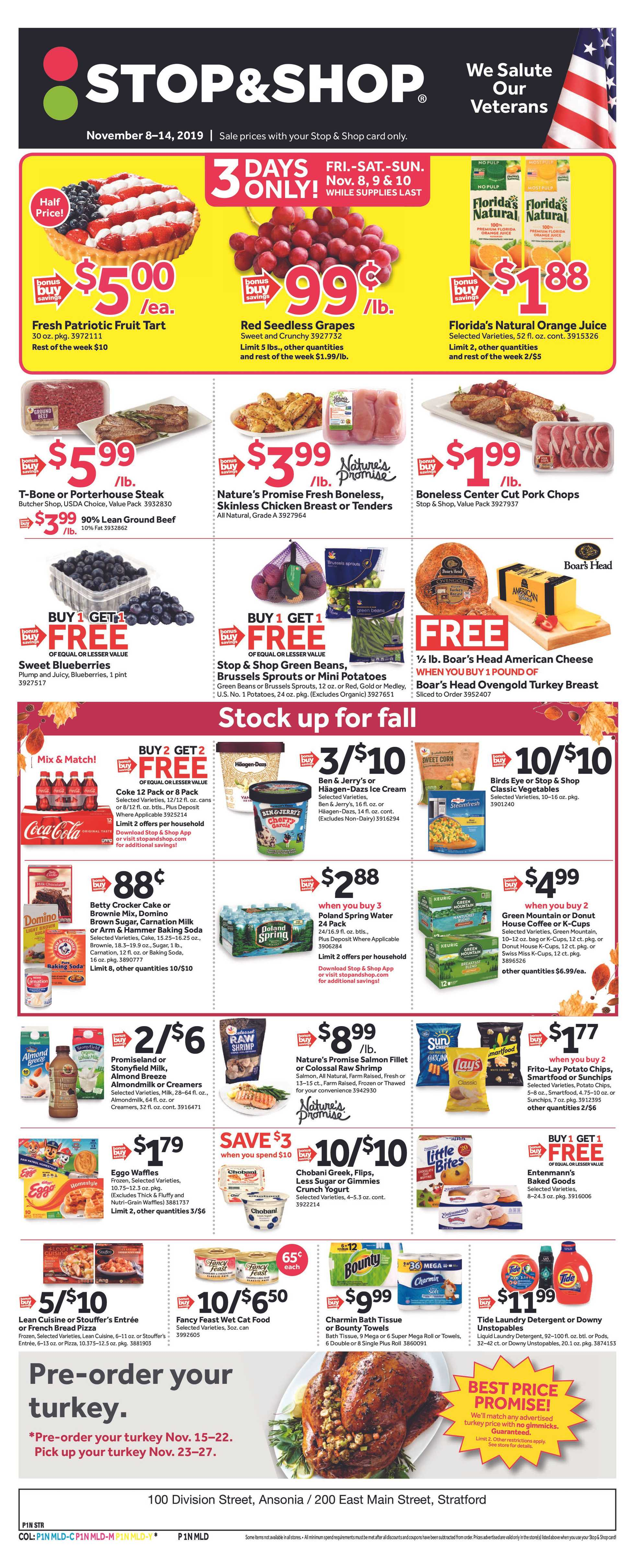 Stop & Shop - deals are valid from 11/08/19 to 11/14/19 - page 1.