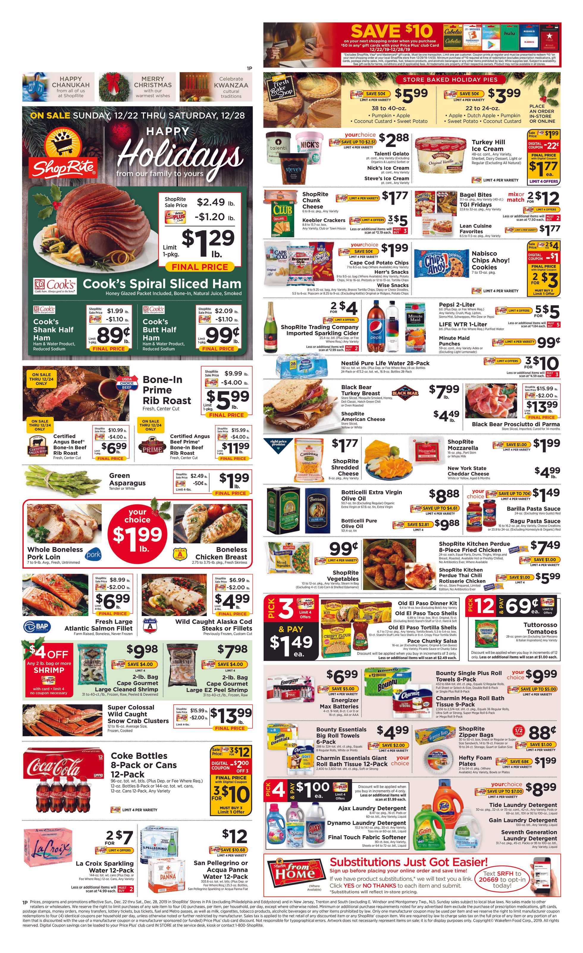 ShopRite - promo starting from 12/22/19 to 12/28/19 - page 1.