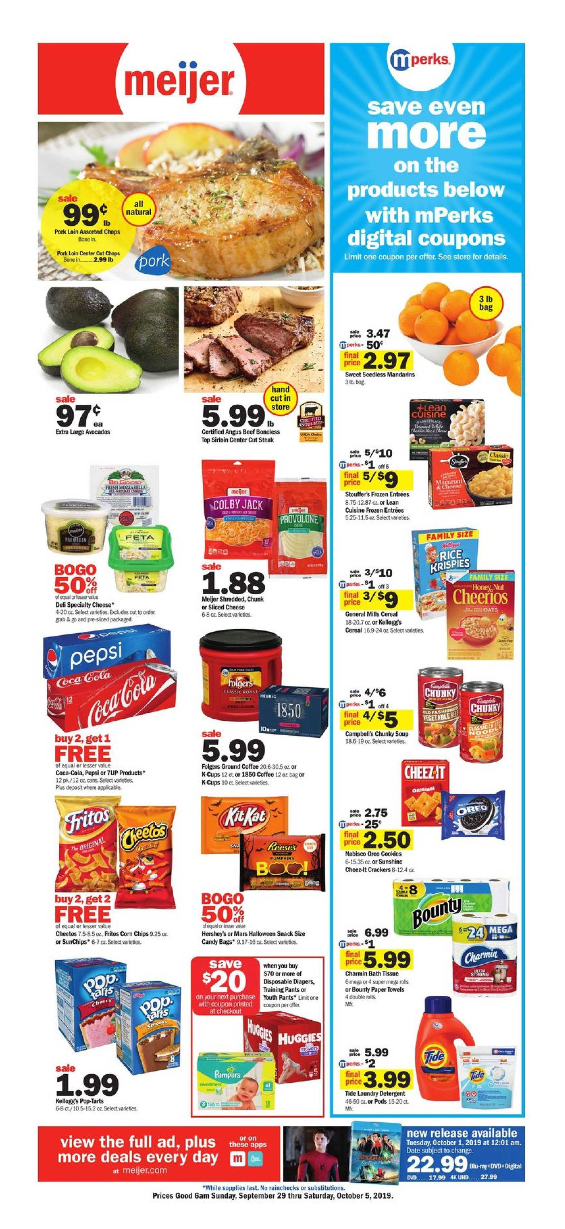 Meijer - deals are valid from 09/29/19 to 10/05/19 - page 1.