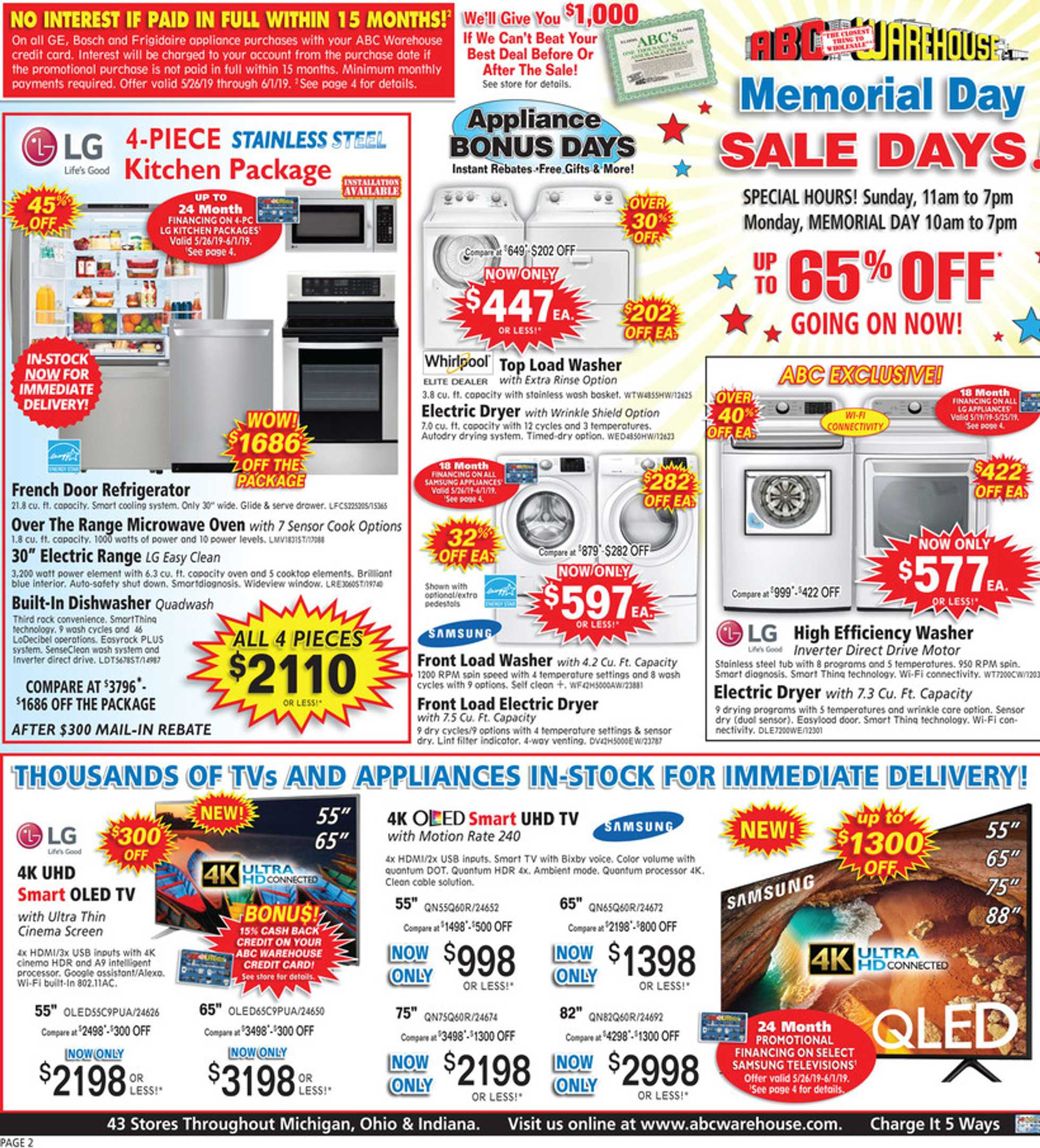 ABC Warehouse - deals are valid from 05/26/19 to 06/01/19 - page 2.