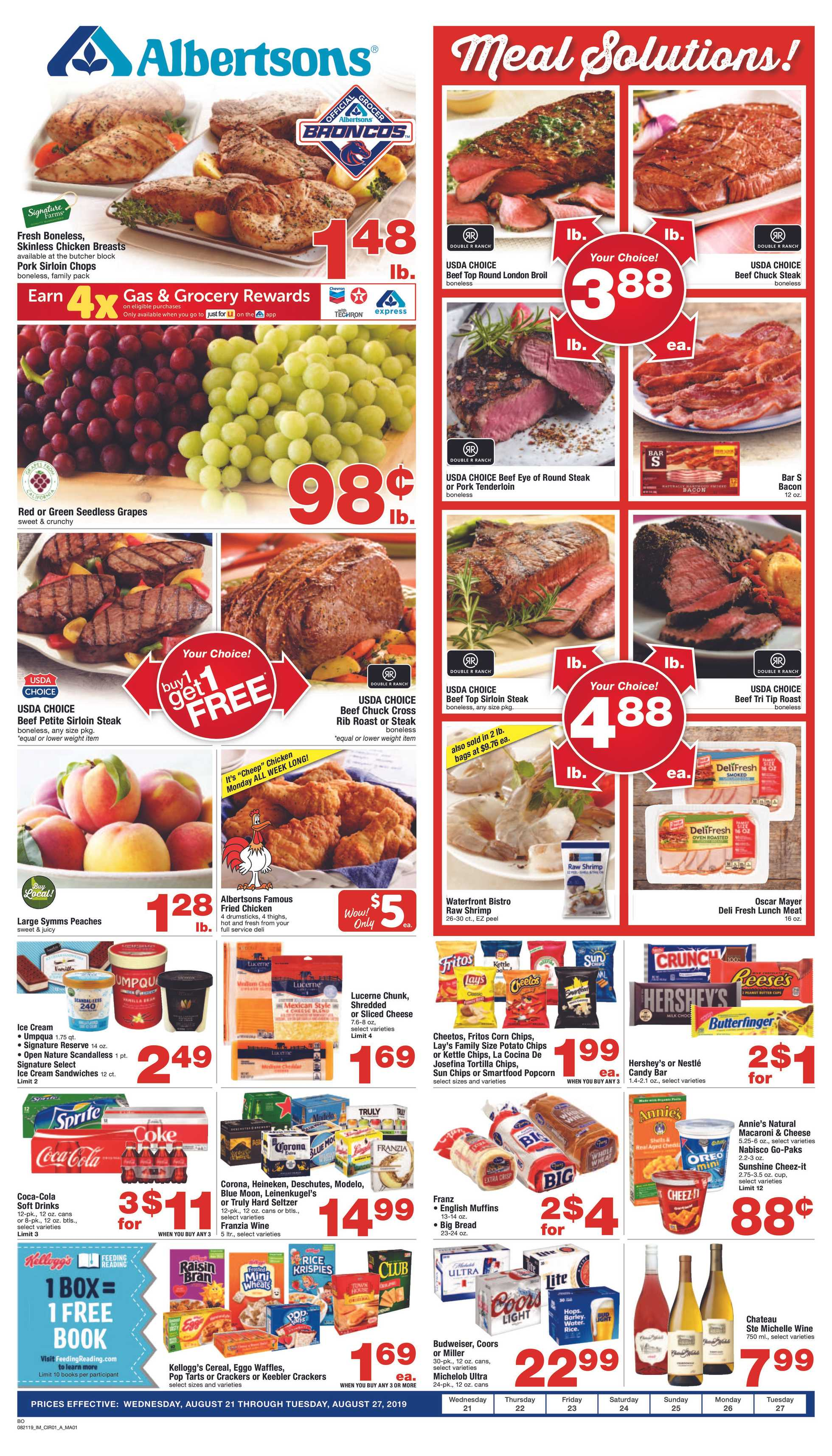 Albertsons - deals are valid from 08/21/19 to 08/27/19 - page 1.
