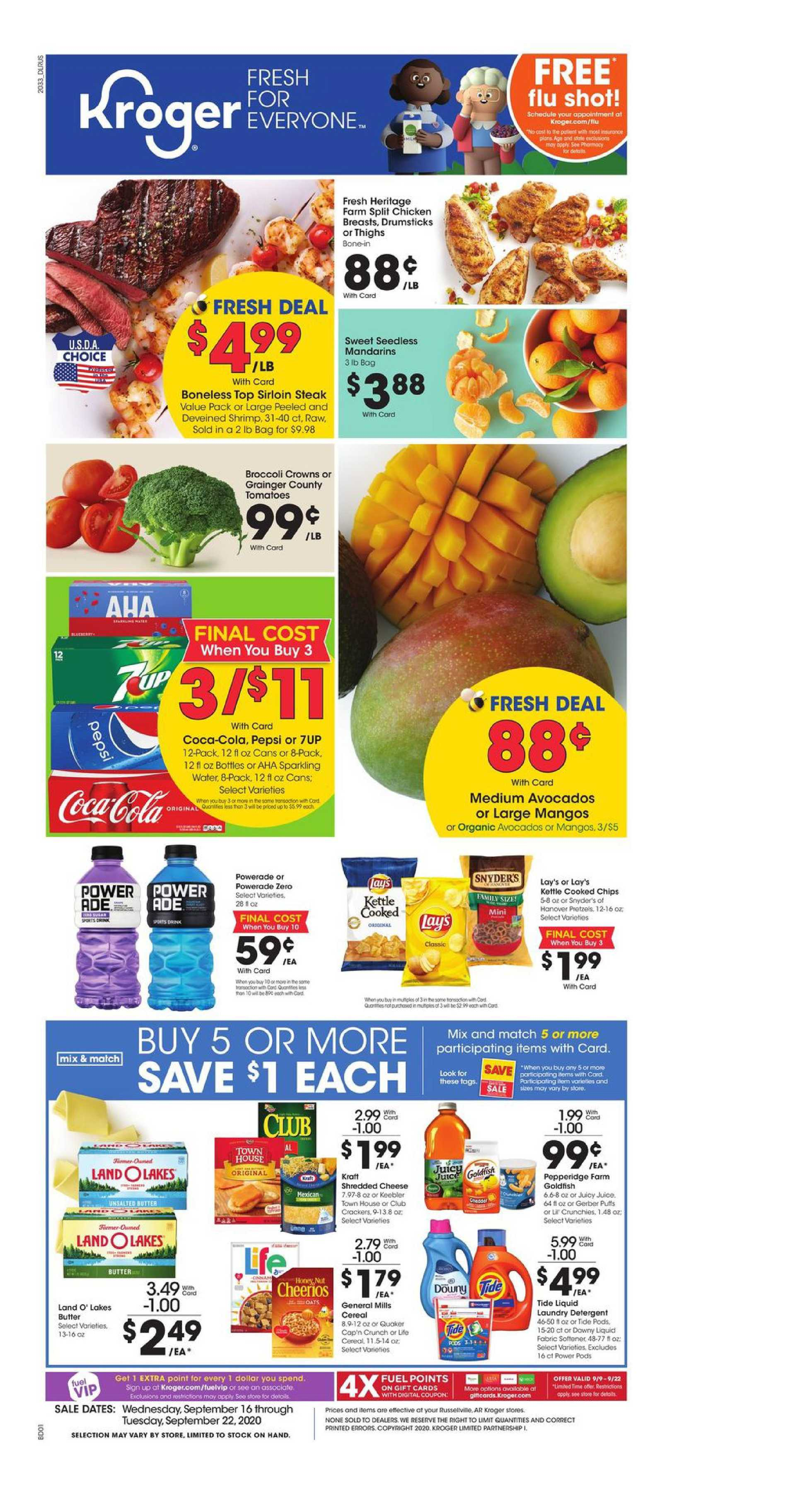 Kroger - deals are valid from 09/16/20 to 09/22/20 - page 1.