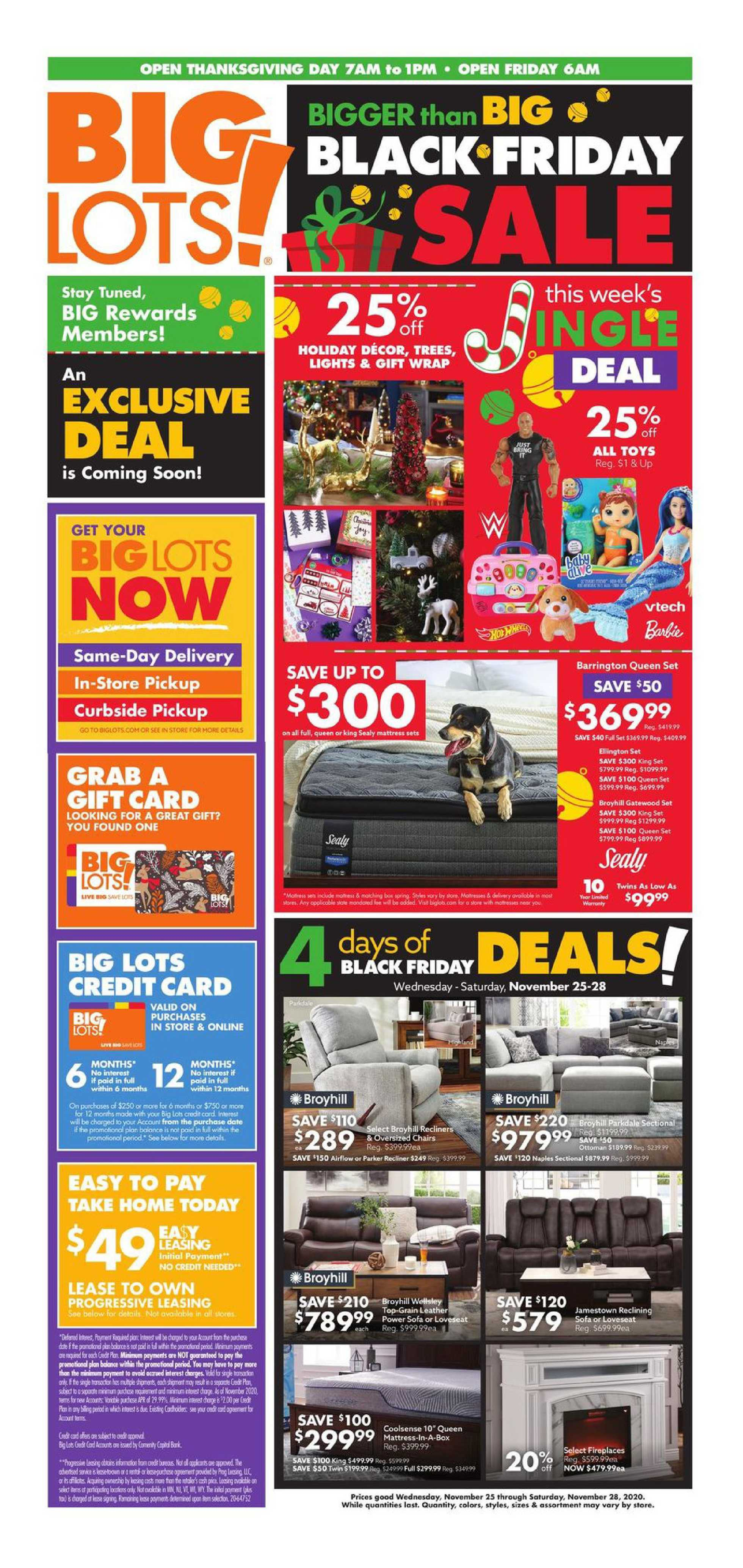 Big Lots - deals are valid from 11/25/20 to 11/28/20 - page 1.