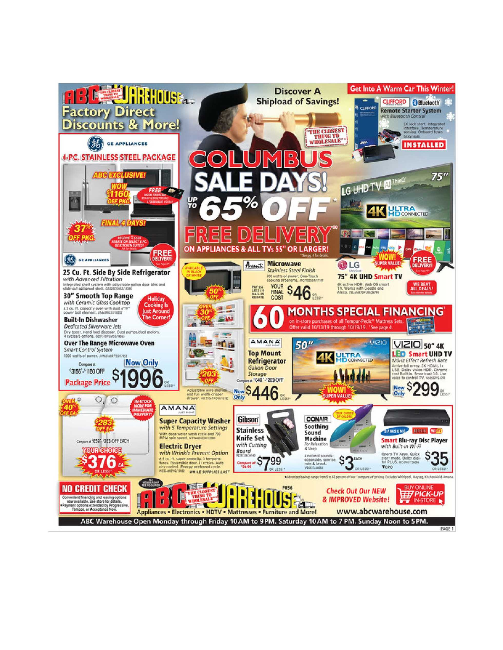 ABC Warehouse - deals are valid from 10/13/19 to 10/19/19 - page 1.