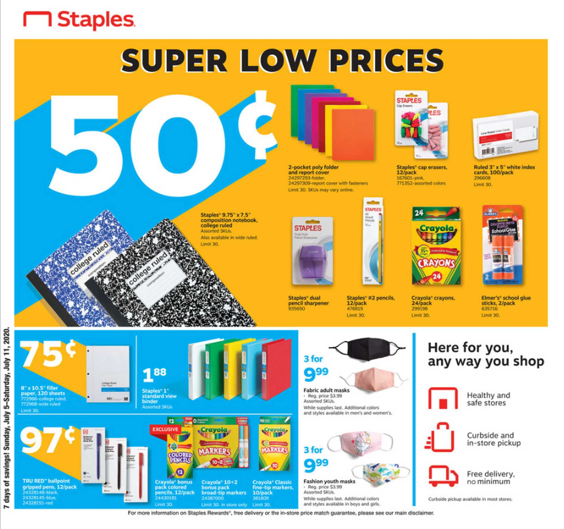 Staples - deals are valid from 07/05/20 to 07/11/20 - page 1.
