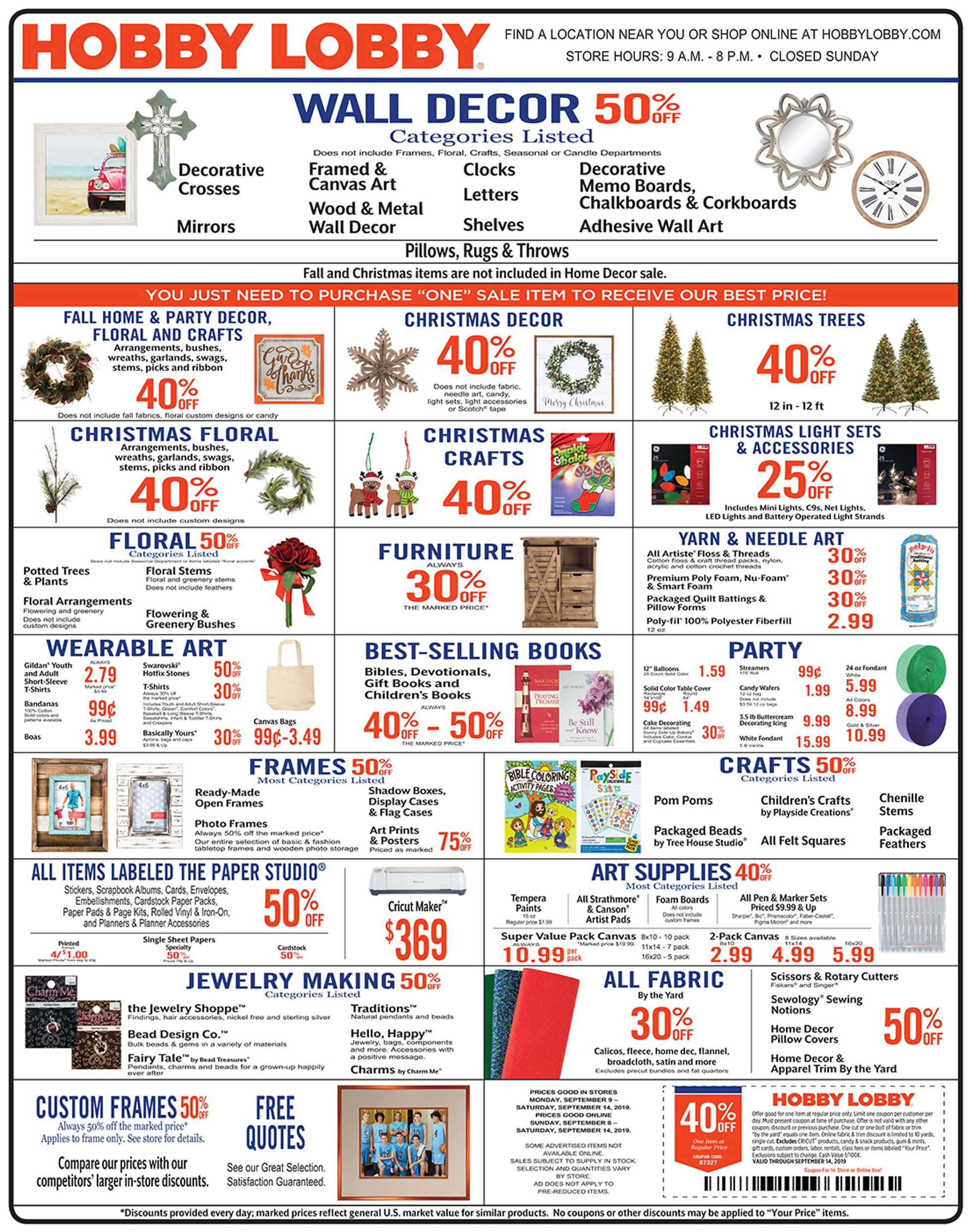 Hobby Lobby Weekly Ad Coupon 09 09 19 Us Promotons Com