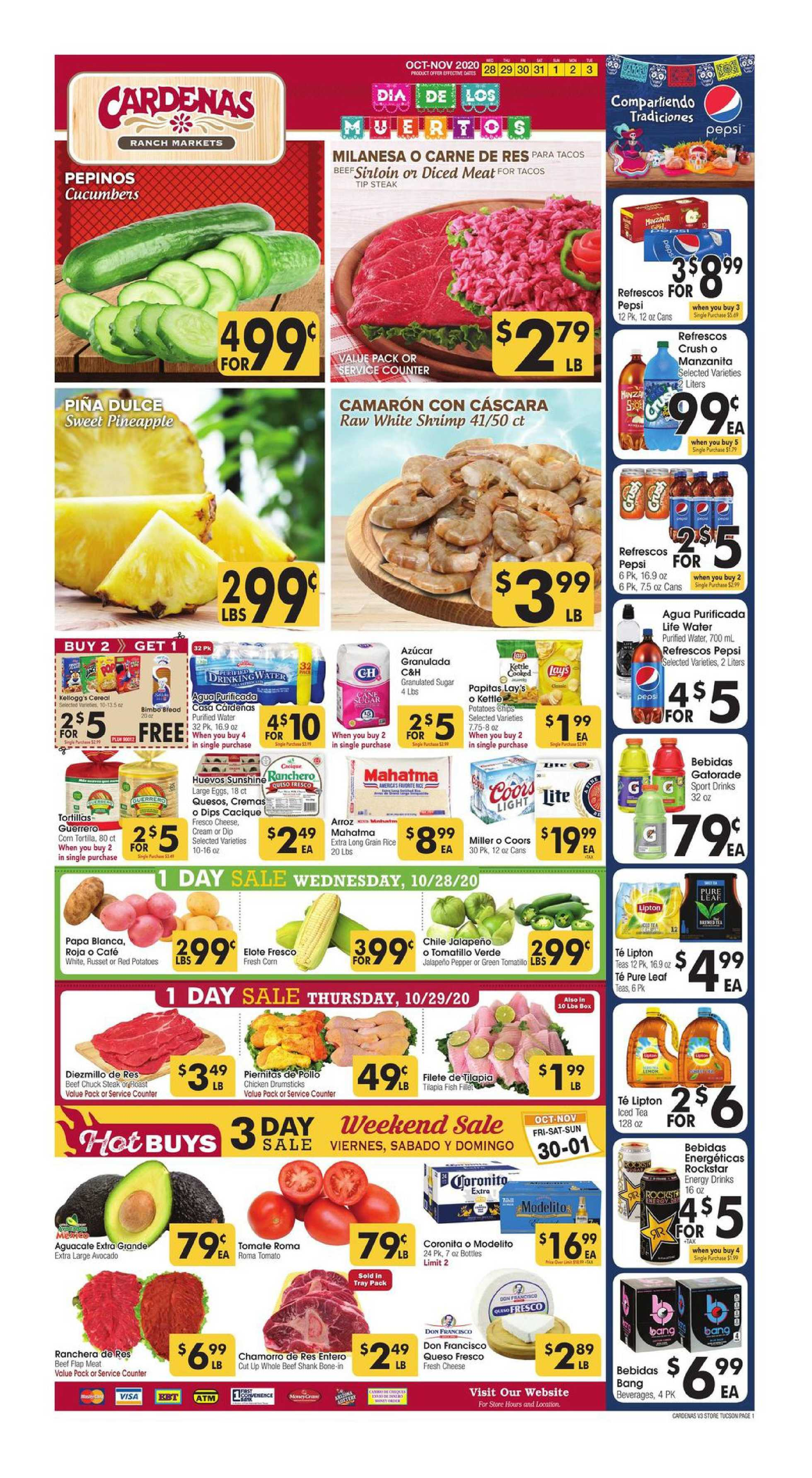 Cardenas - deals are valid from 10/28/20 to 11/03/20 - page 1.