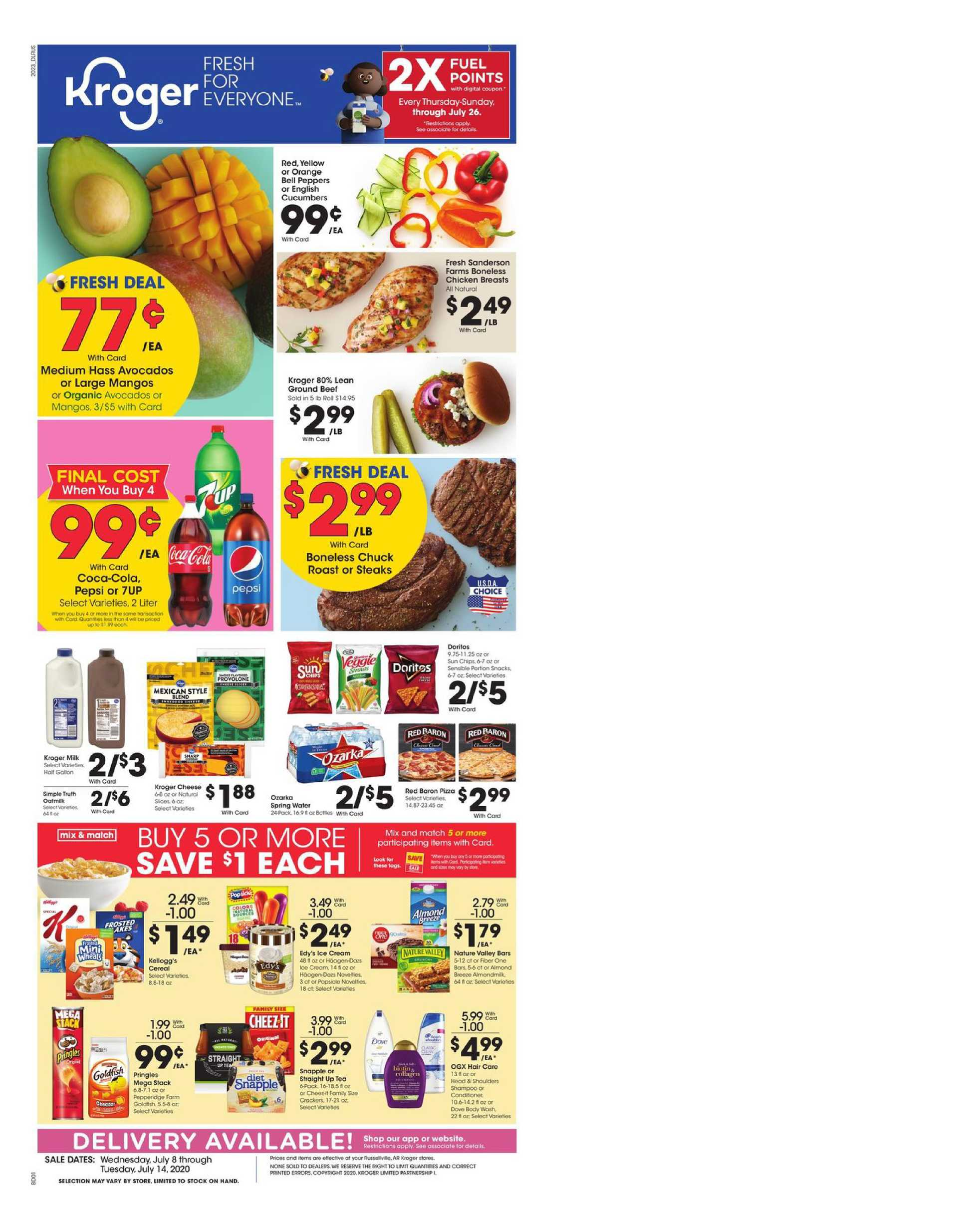 Kroger - deals are valid from 07/08/20 to 07/14/20 - page 1.