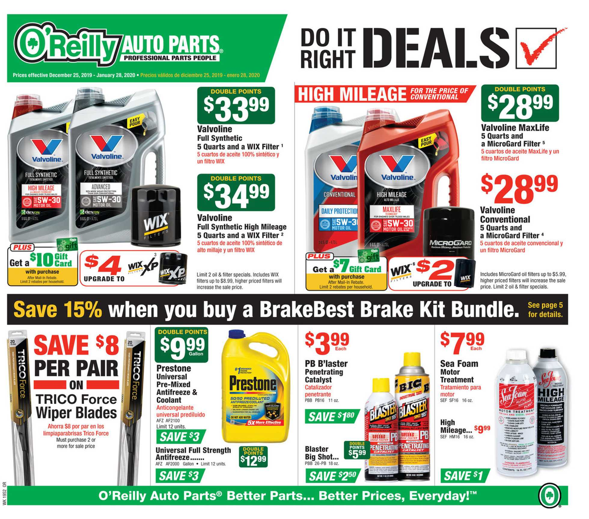 O'reilly - promo starting from 12/25/19 to 01/28/20 - page 1.