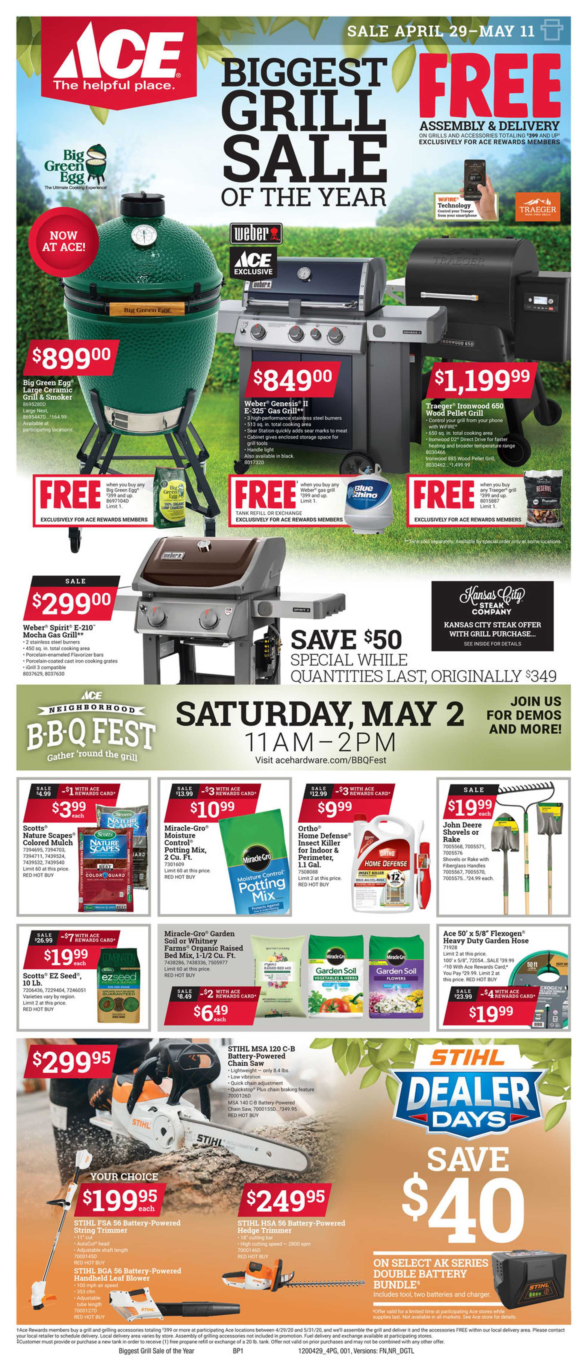 ACE Hardware - deals are valid from 04/29/20 to 05/11/20 - page 1.