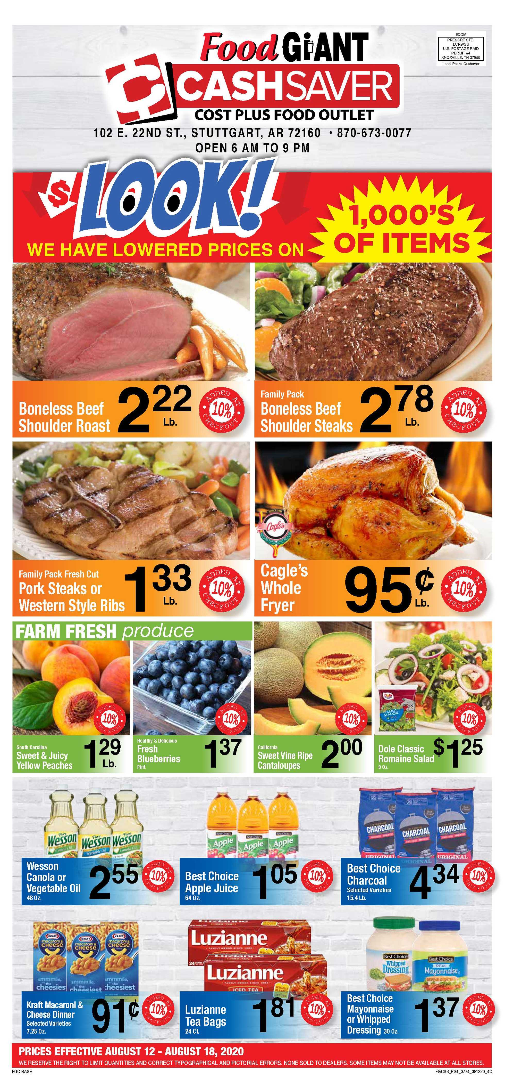 Food Giant - deals are valid from 08/12/20 to 08/18/20 - page 1.