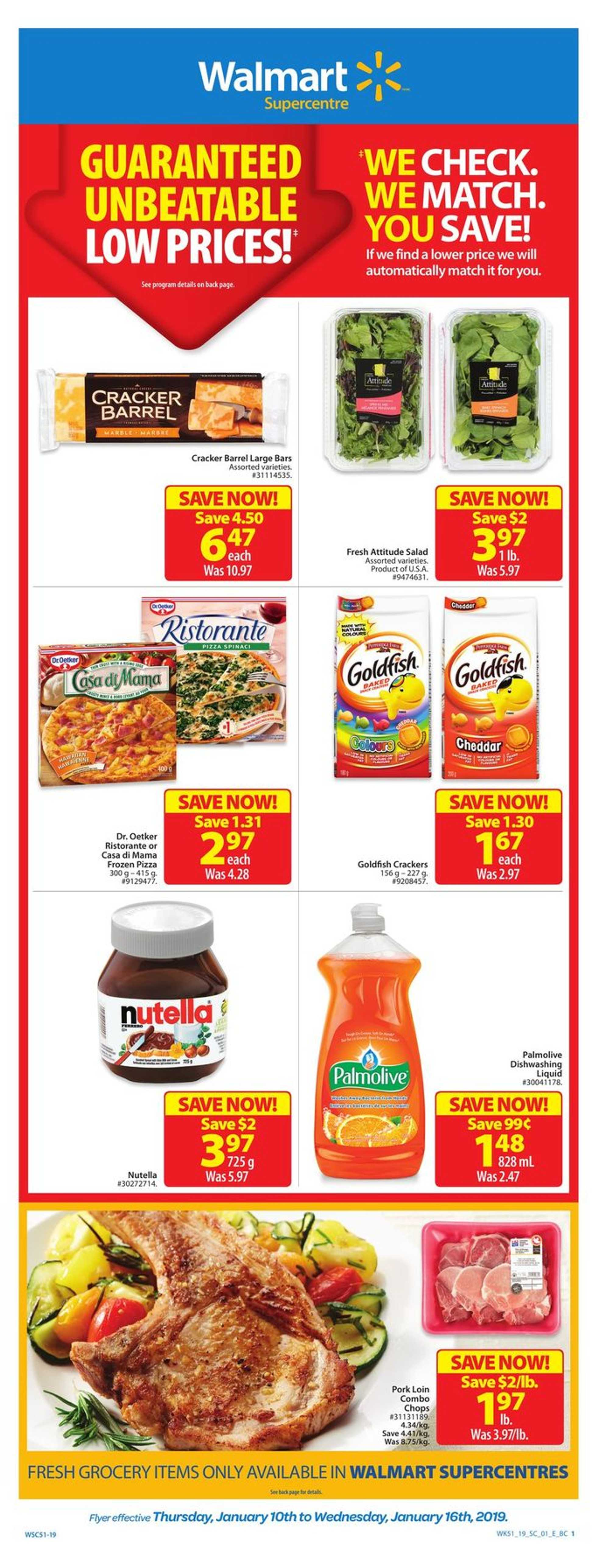 Walmart - deals are valid from 01/10/19 to 01/16/19 - page 1.