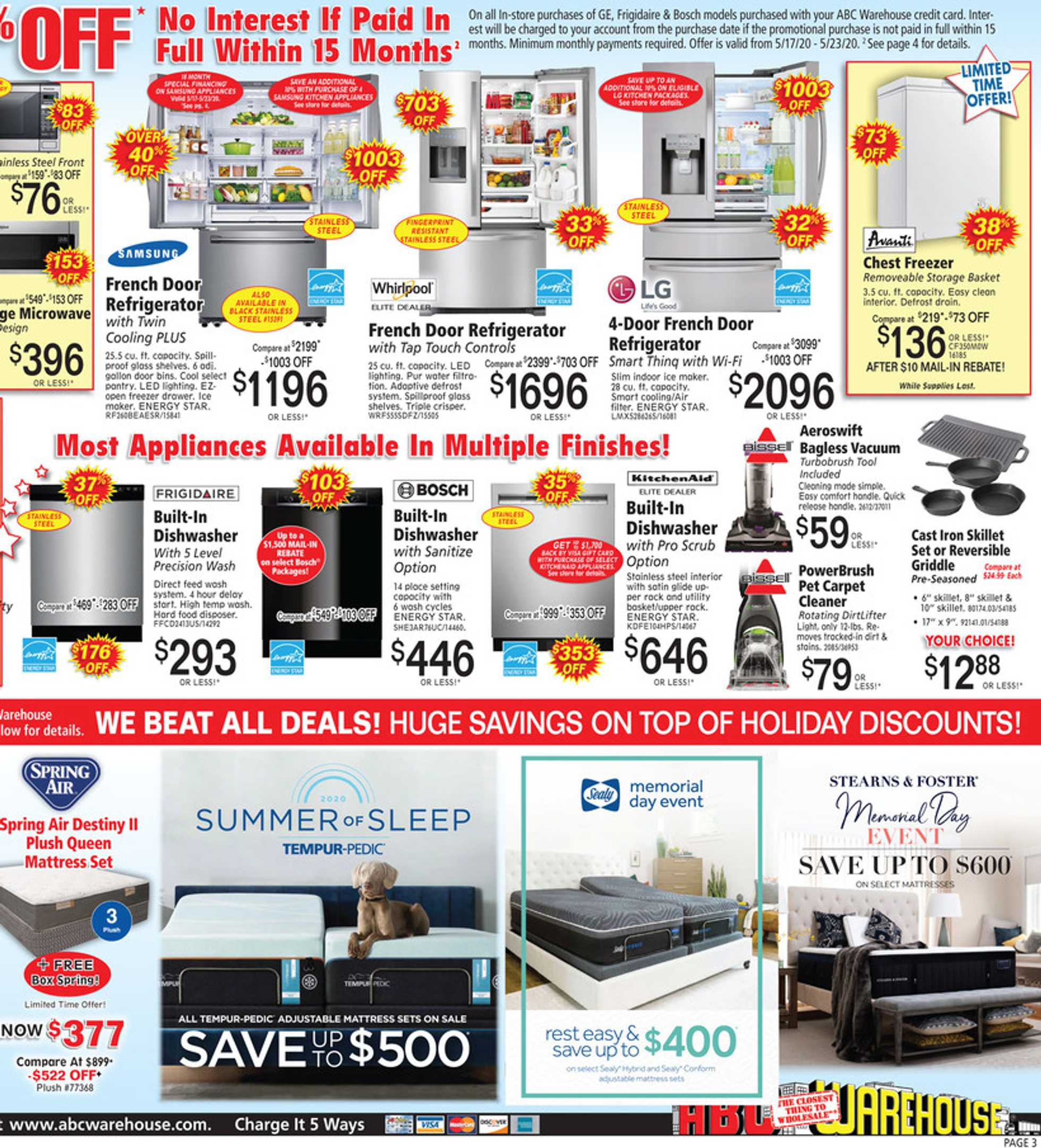 ABC Warehouse - deals are valid from 05/17/20 to 05/23/20 - page 3.