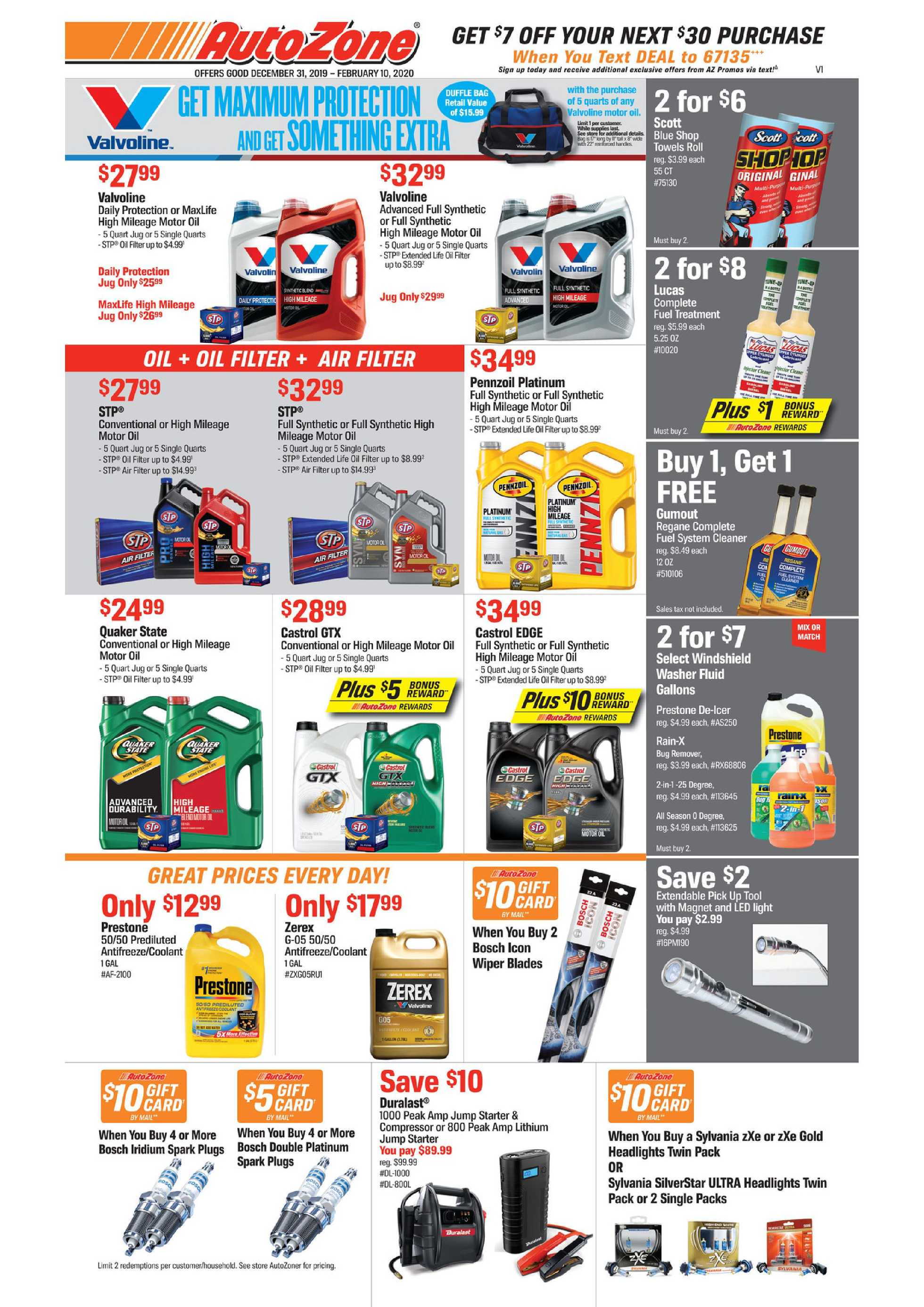 AutoZone - deals are valid from 12/31/19 to 02/10/20 - page 1.