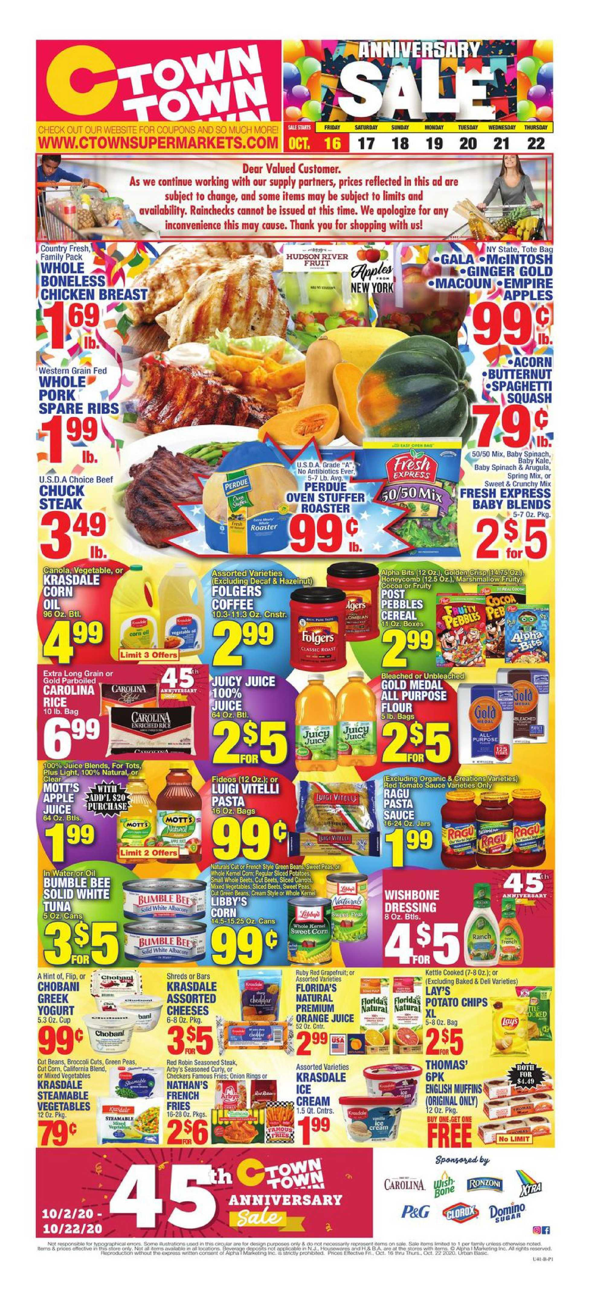 C-Town - deals are valid from 10/16/20 to 10/22/20 - page 1.