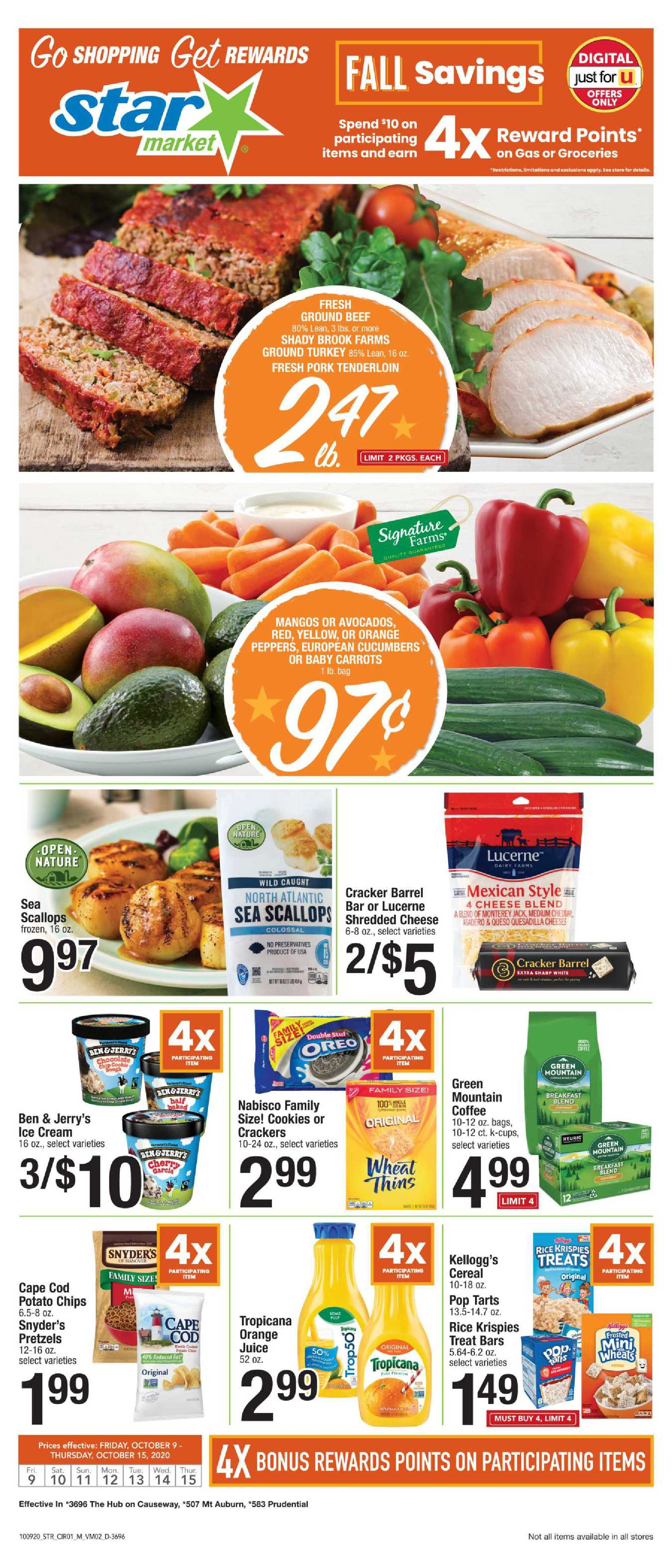 Star Market - deals are valid from 10/09/20 to 10/15/20 - page 1.
