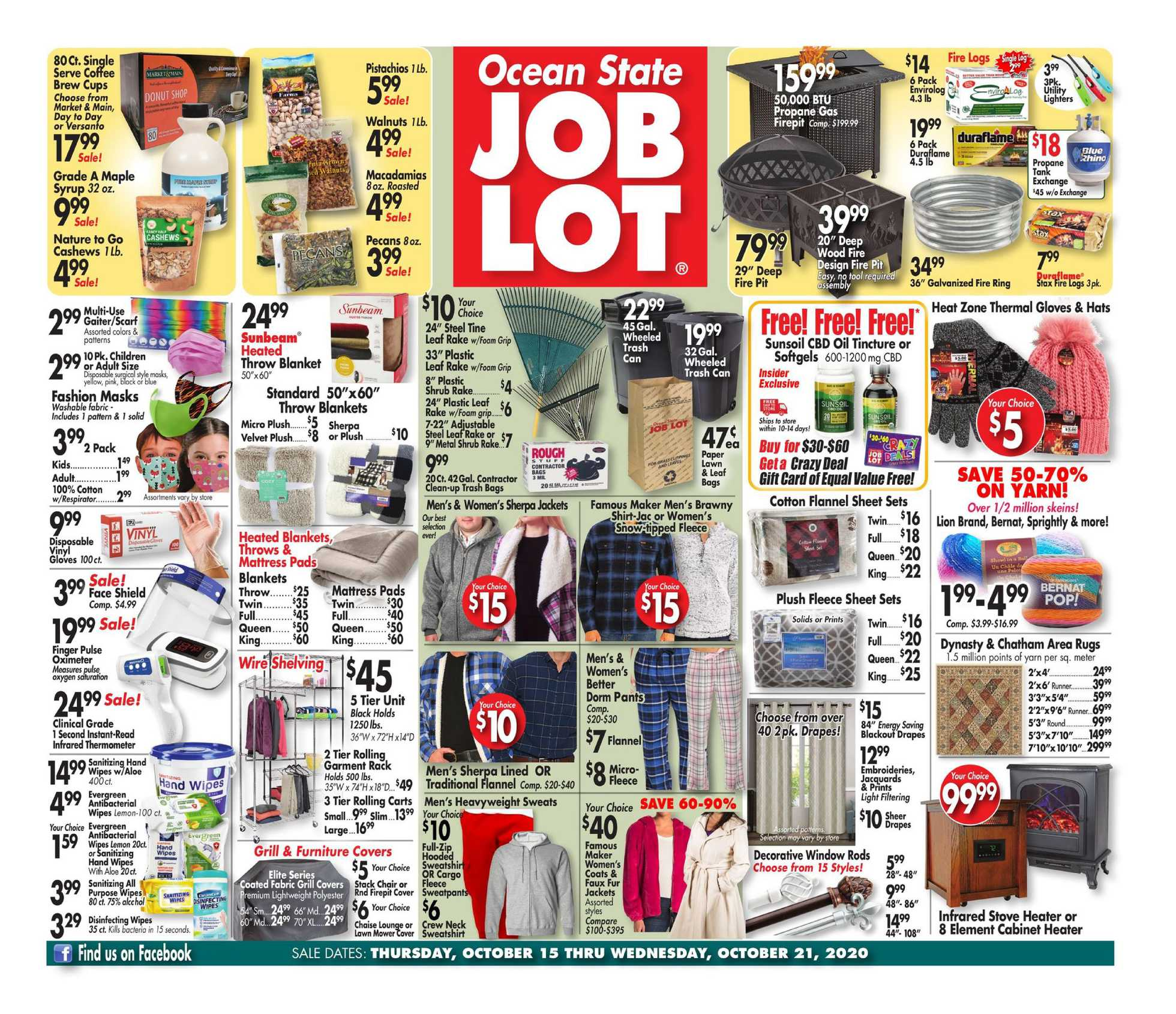 Ocean State Job Lot - deals are valid from 10/15/20 to 10/21/20 - page 1.