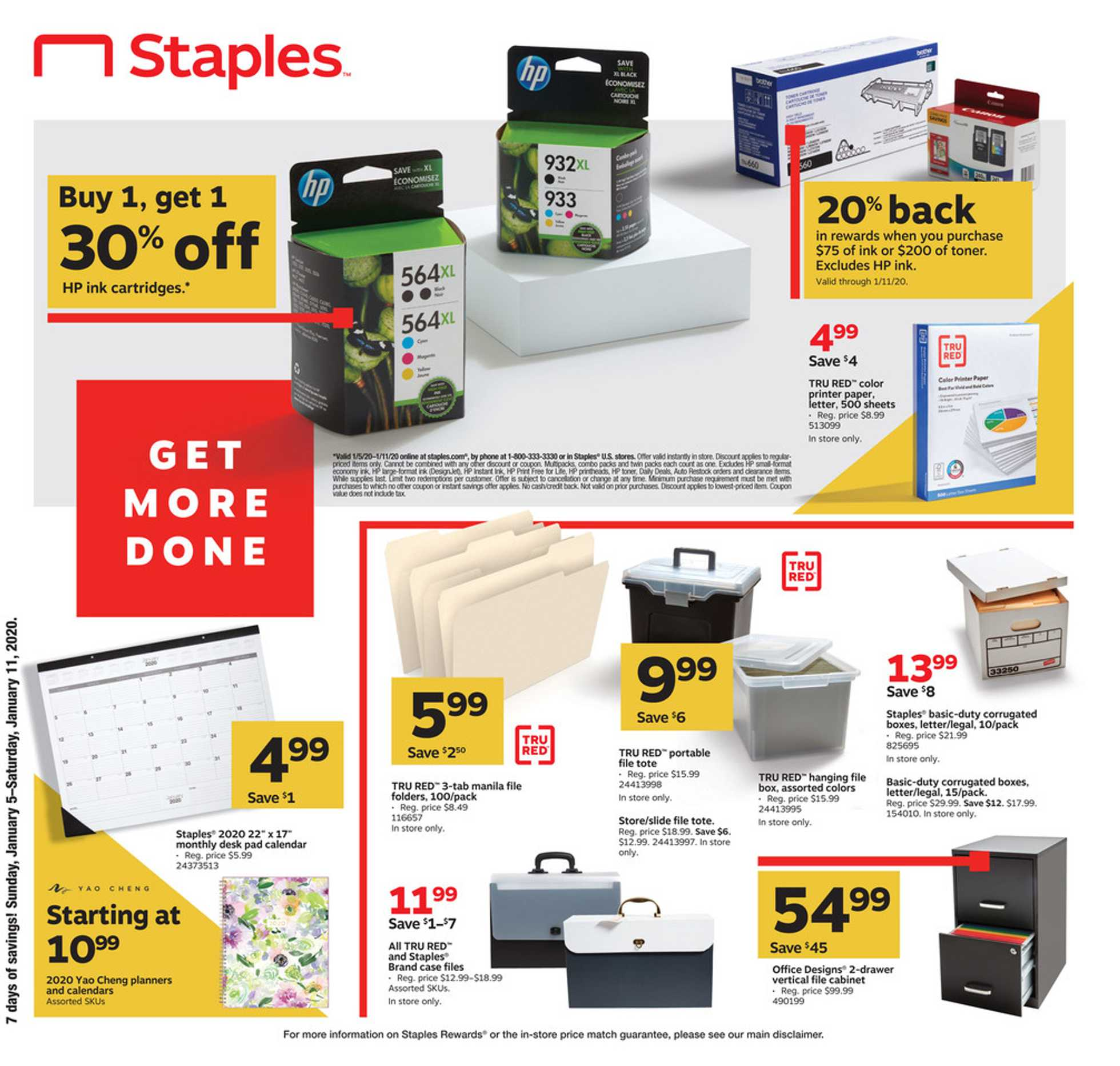 Staples - deals are valid from 01/05/20 to 01/11/20 - page 1.