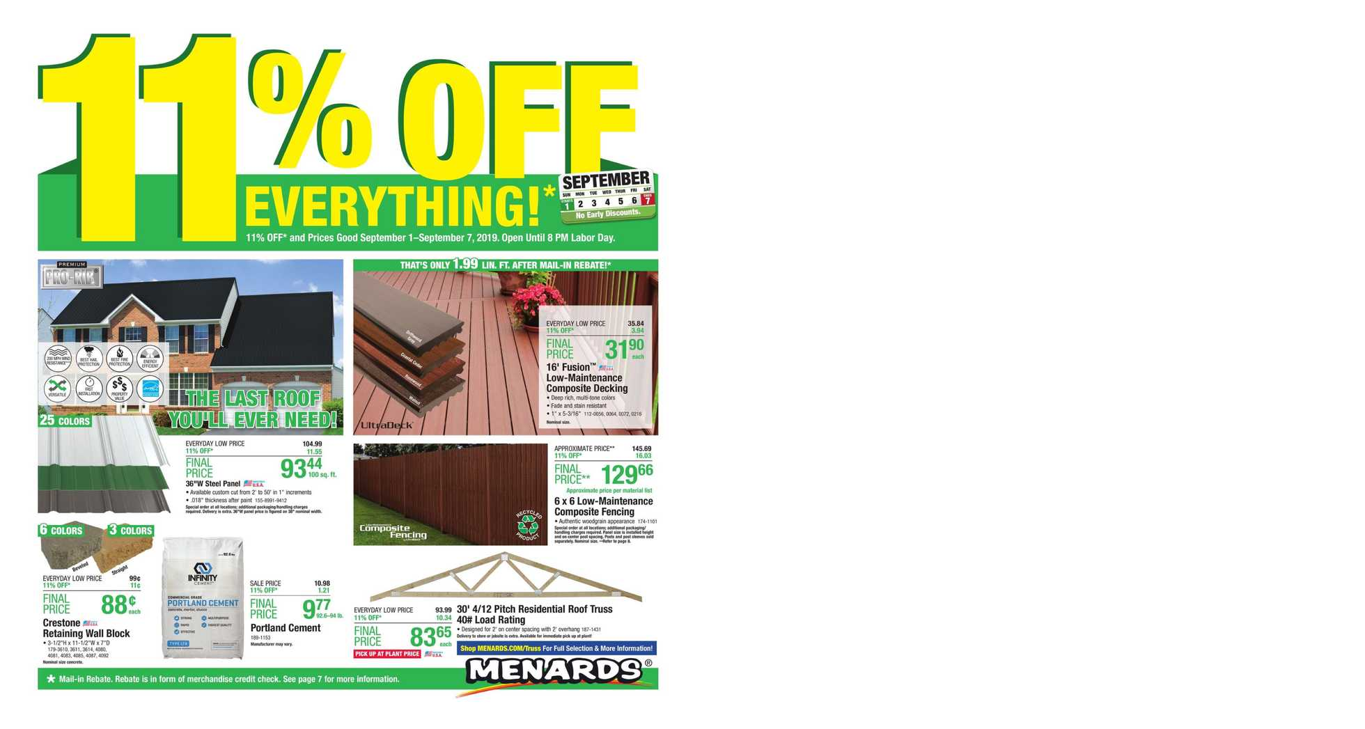 Menards - deals are valid from 09/01/19 to 09/07/19 - page 1.