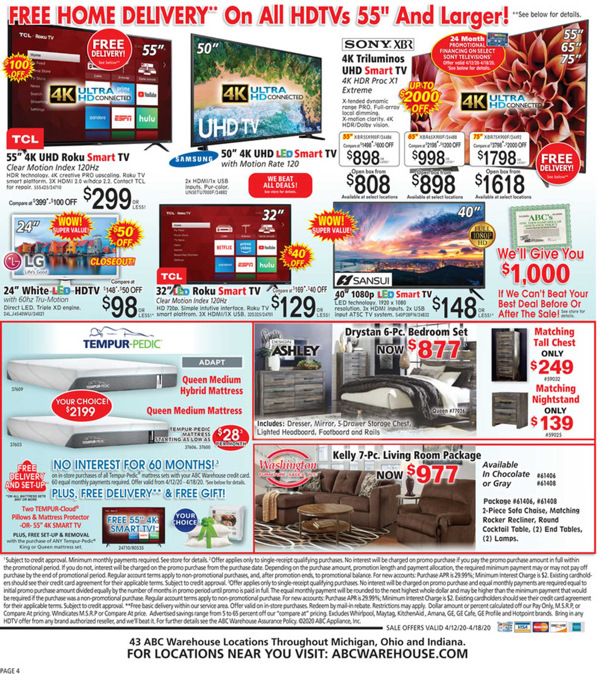 ABC Warehouse - deals are valid from 04/12/20 to 04/18/20 - page 4.